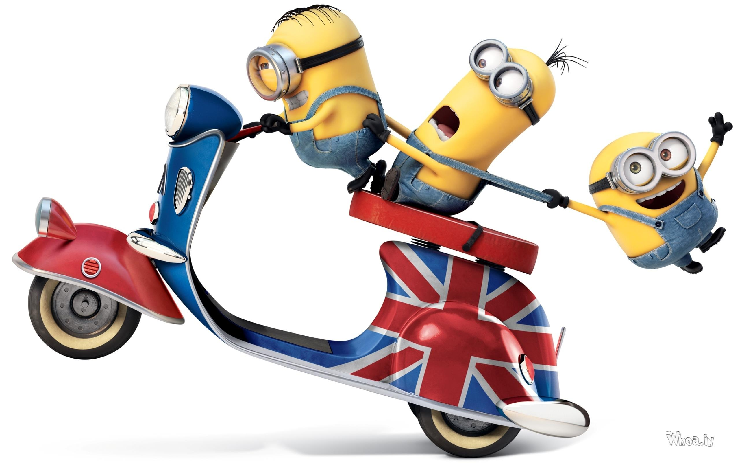 3 minions ride bike in naughty style hd wallpaper