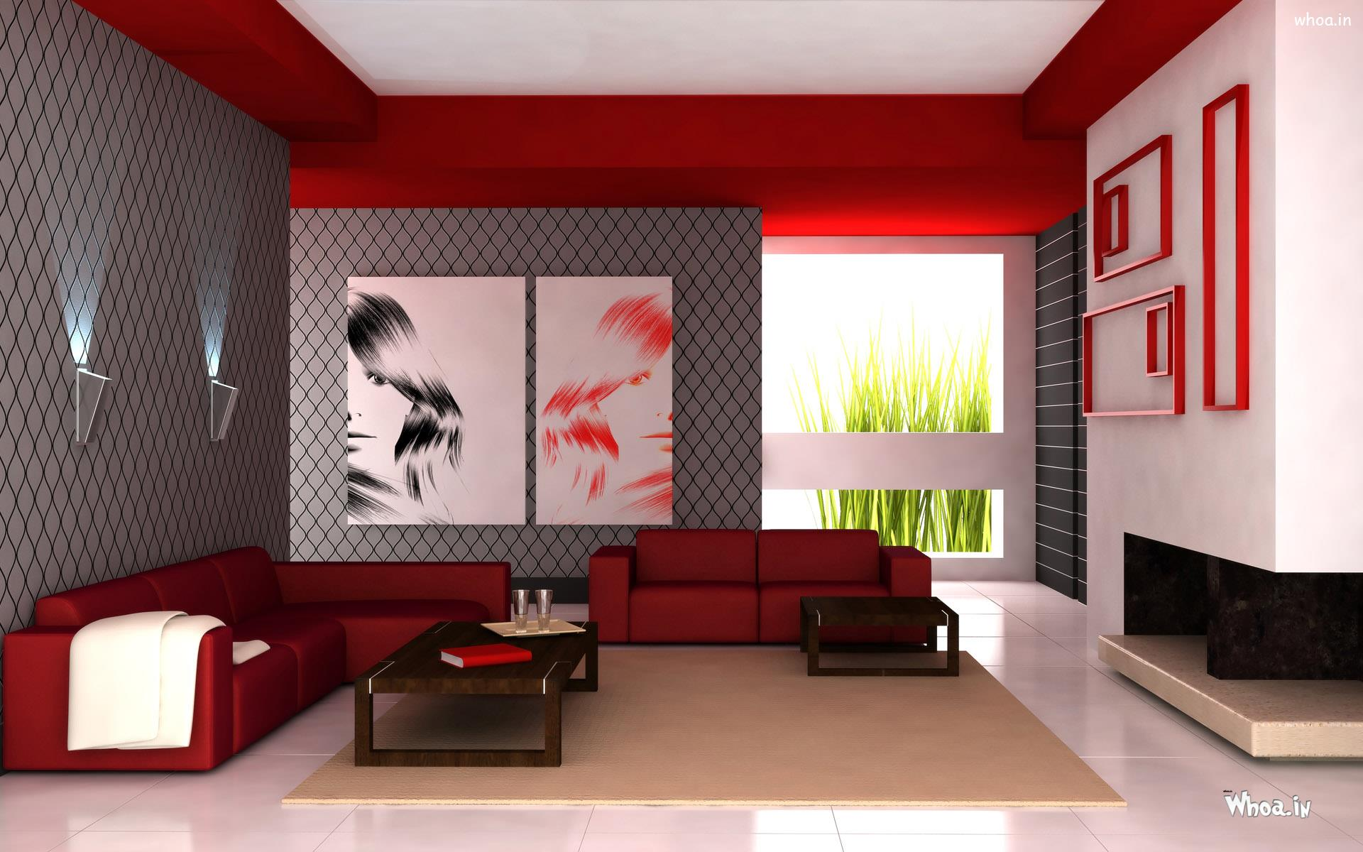 3 X 2 Red Leather Sofa With Multi Color Wall For Living Room Part 13