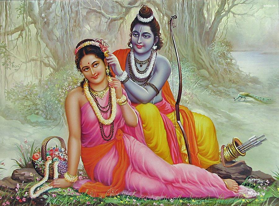 Beautiful Lord Shri Ram And Sita Mata Hd Wallpaper