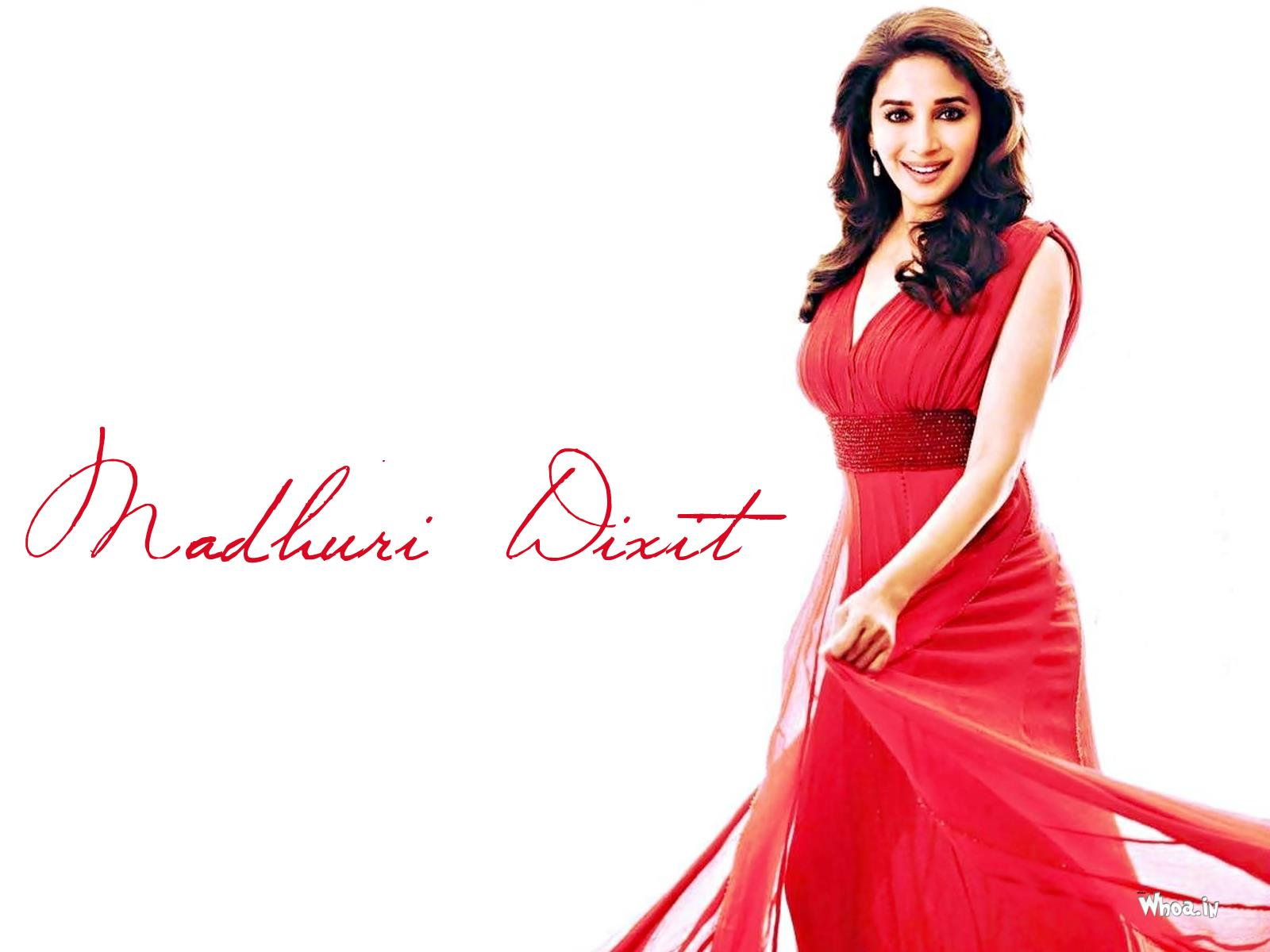 Beautiful Madhuri Dixit Poses In Red Outfit Hd