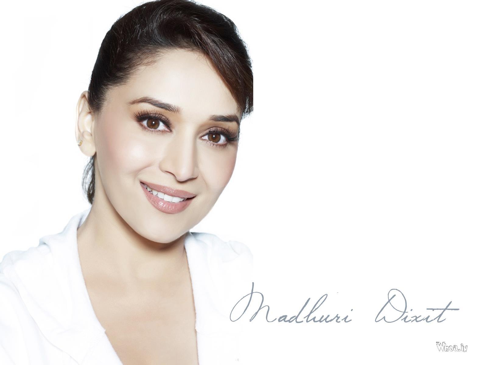 Madhuri Dixit White Dress Face Closeup HD Wallpaper
