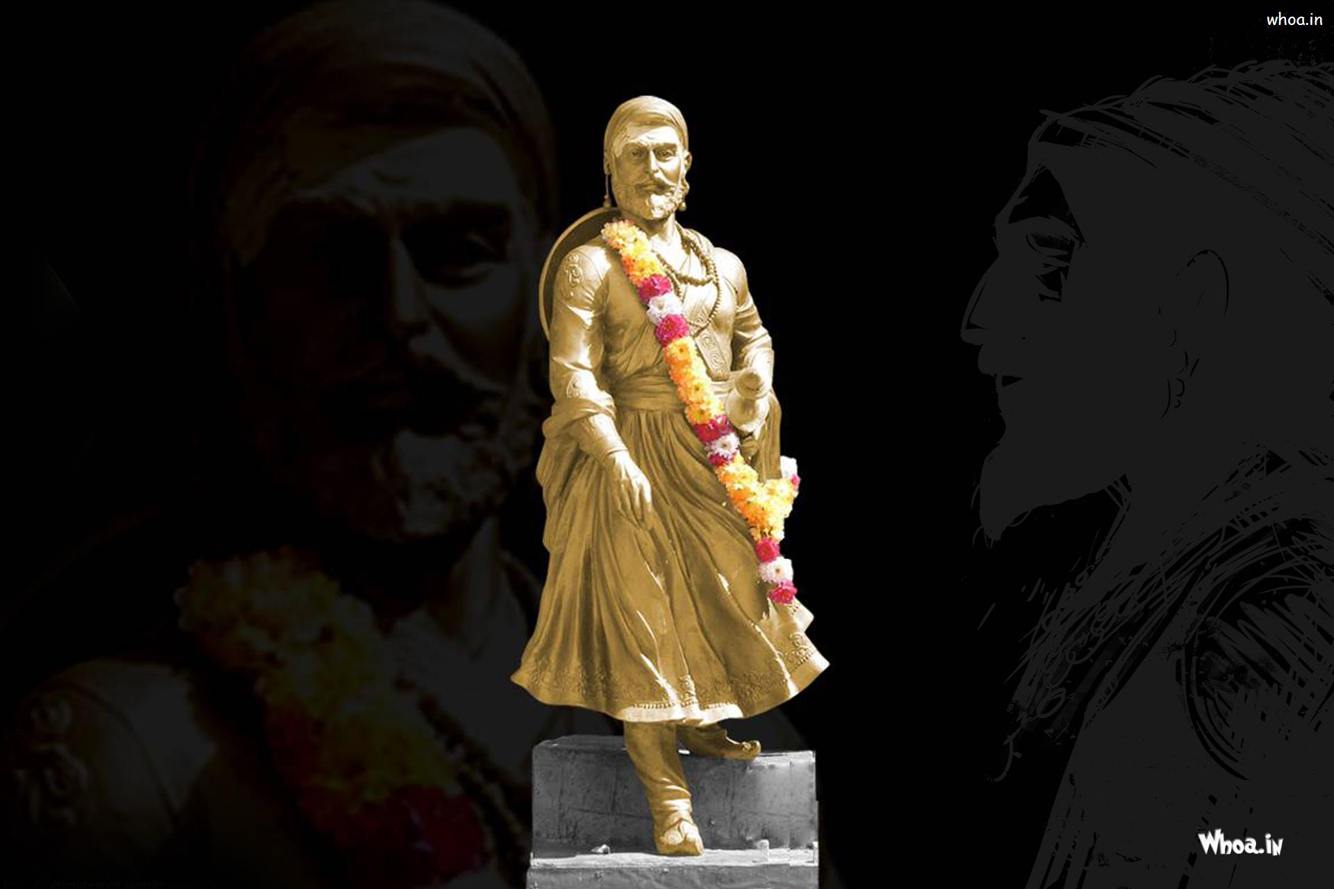 Hd wallpaper shivaji maharaj -  Hd Wallpaper Chatrapati Shivaji Maharaj Standing Statue With Dark Background Image