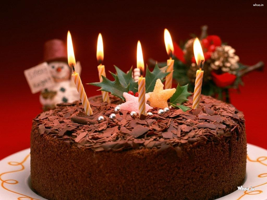 Chocolate Birthday Cake With Lighting Candle Hd Wallpaper