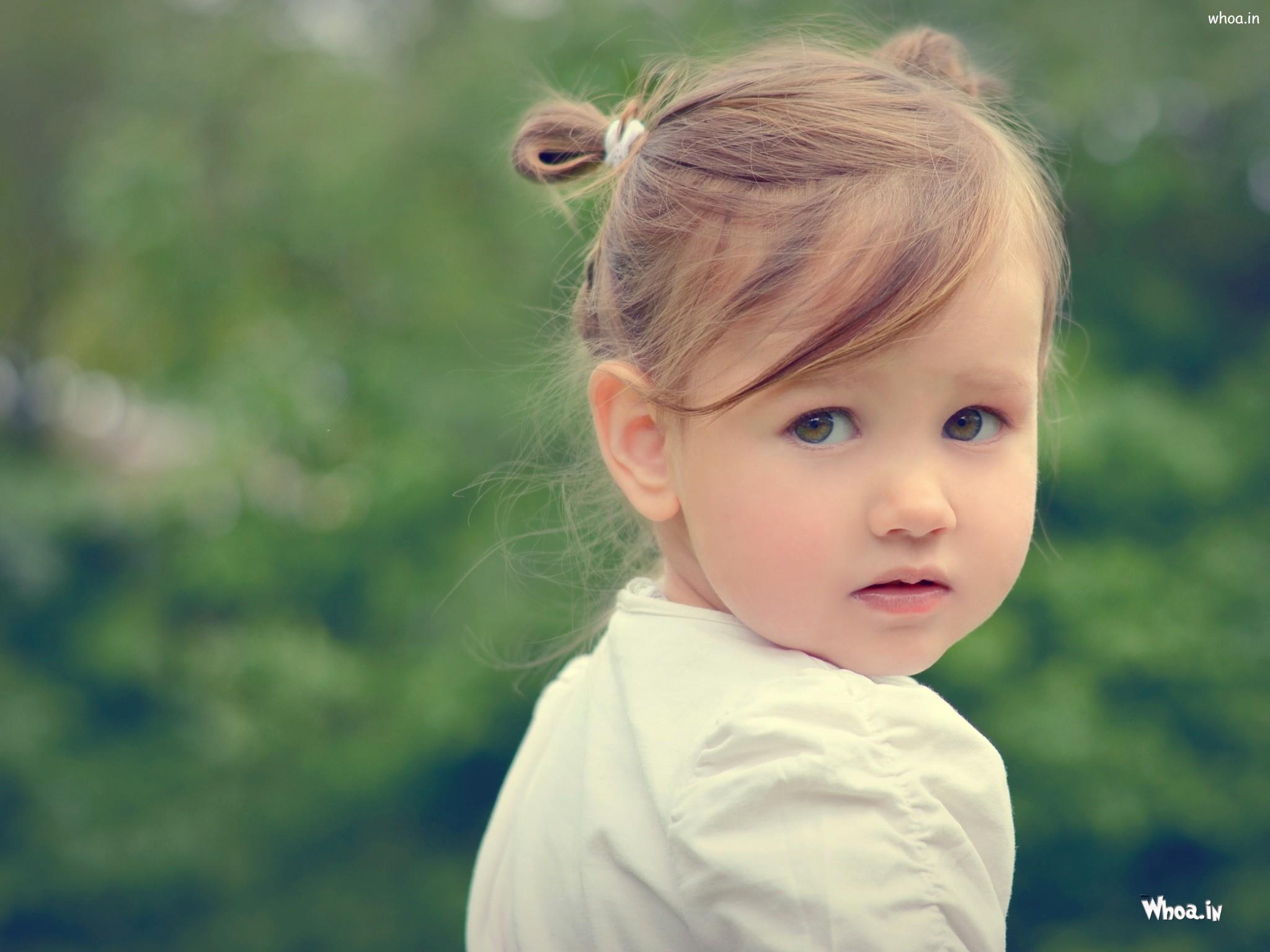 Cute Baby Girl Black Eyes With Face Closeup Hd Cute Baby Wallpaper