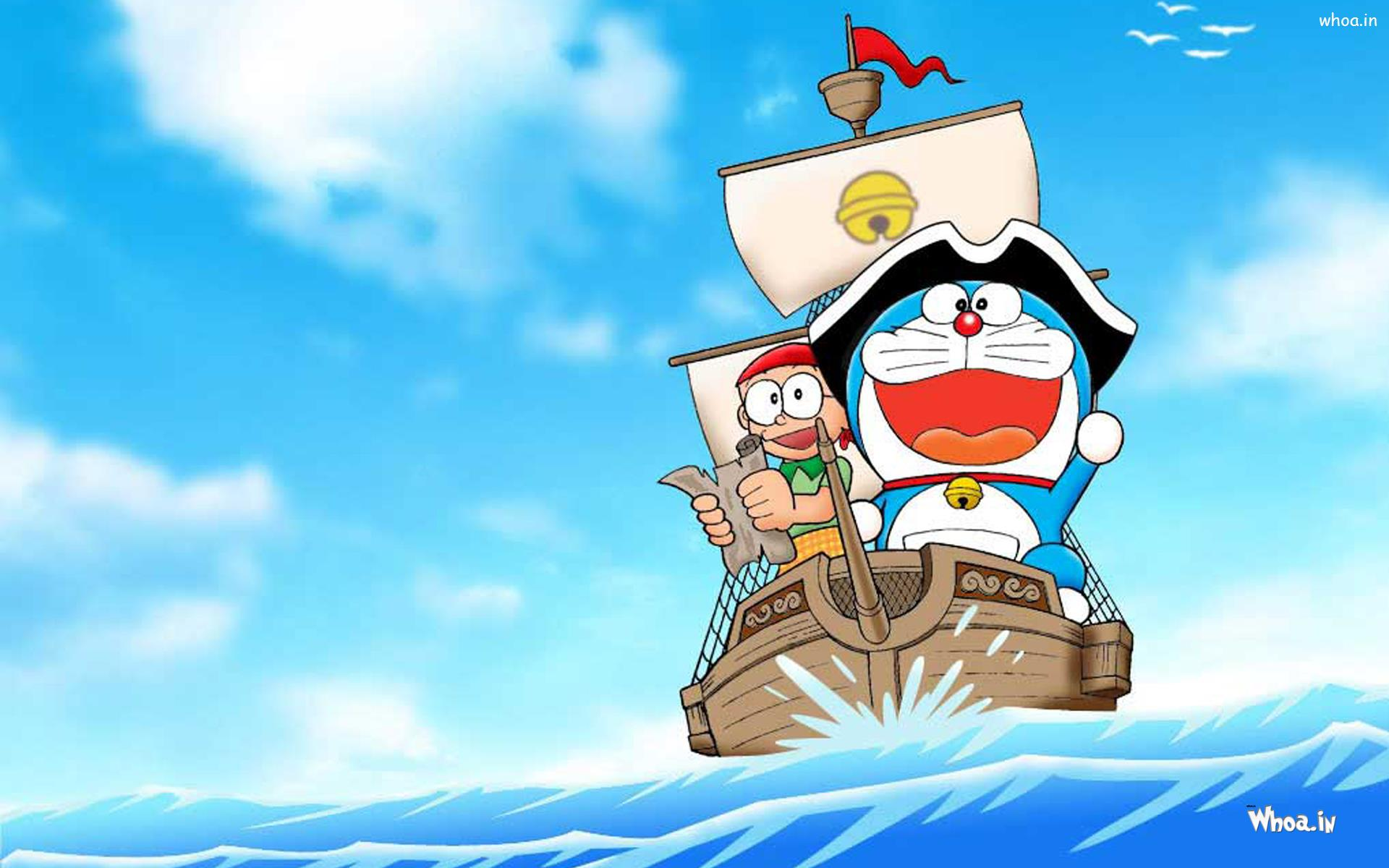 Download wallpaper doraemon free - Doraemon Enjoy Boating With Other Character Hd Wallpaper