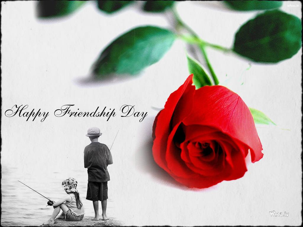 Friendship Day Greetings Red Rose Wallpaper