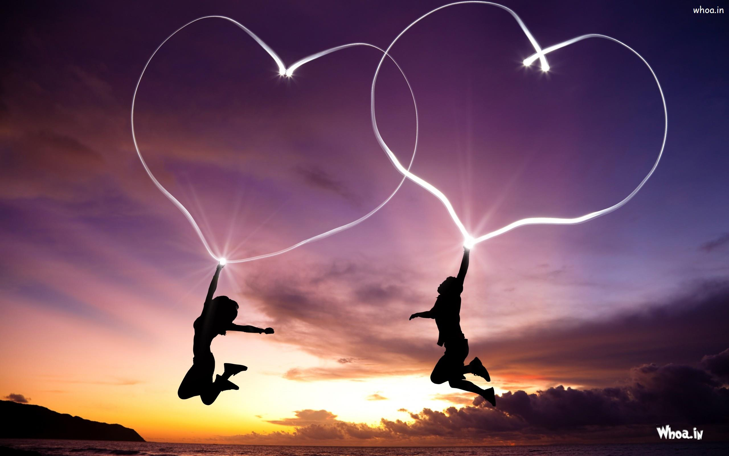 girl and boy jump with love heart hd love wallpaper