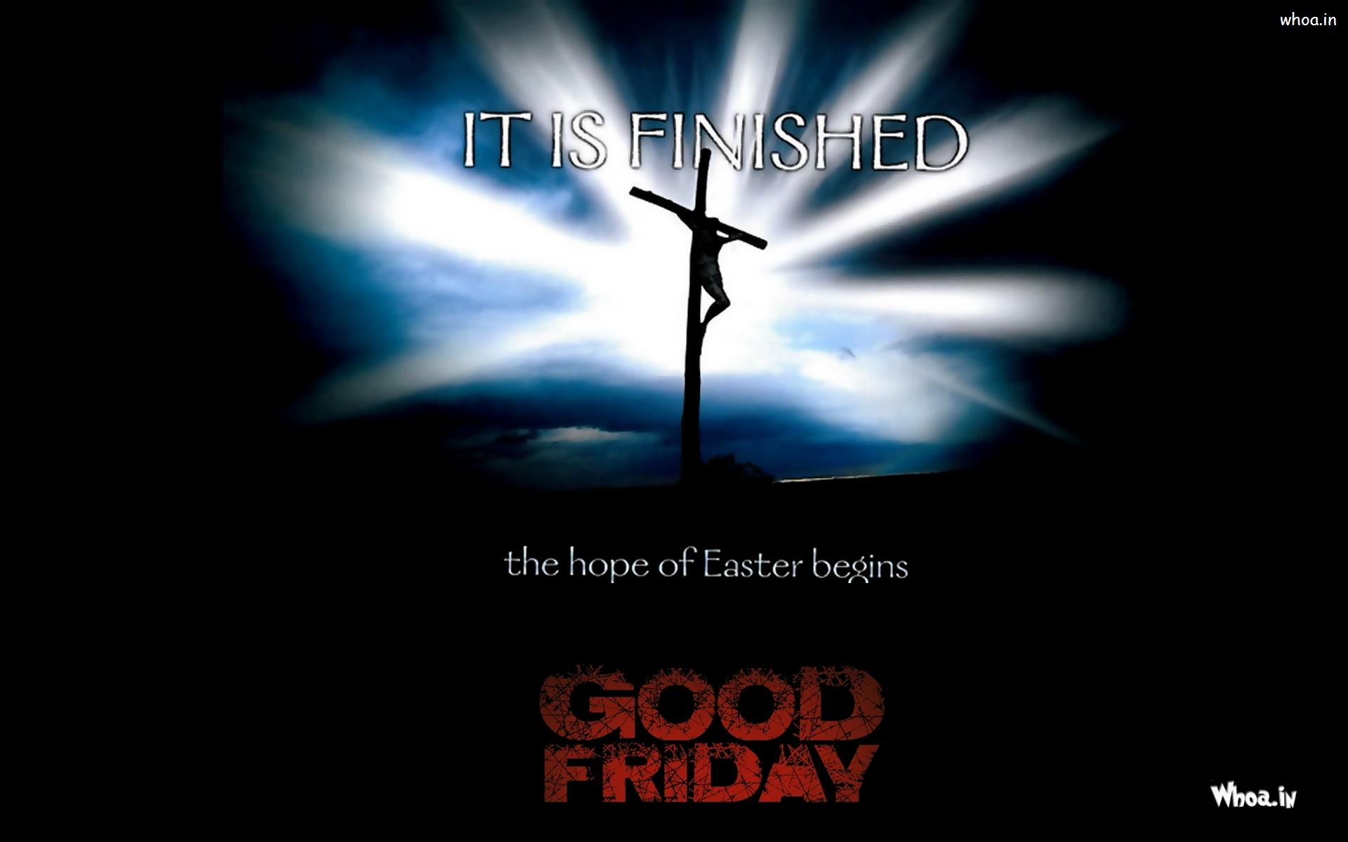 good friday quote in black background with jesus on cross