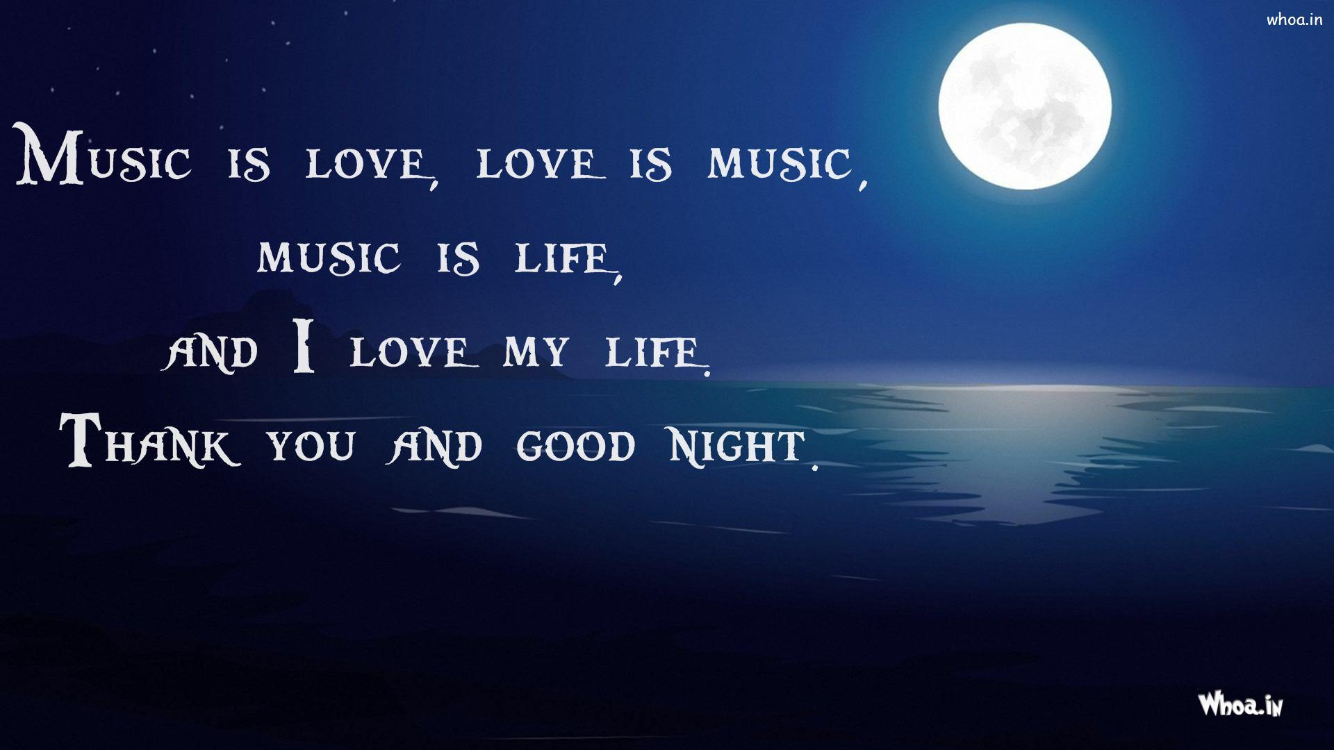 good night quotes i love my life and good night hd wallpaper