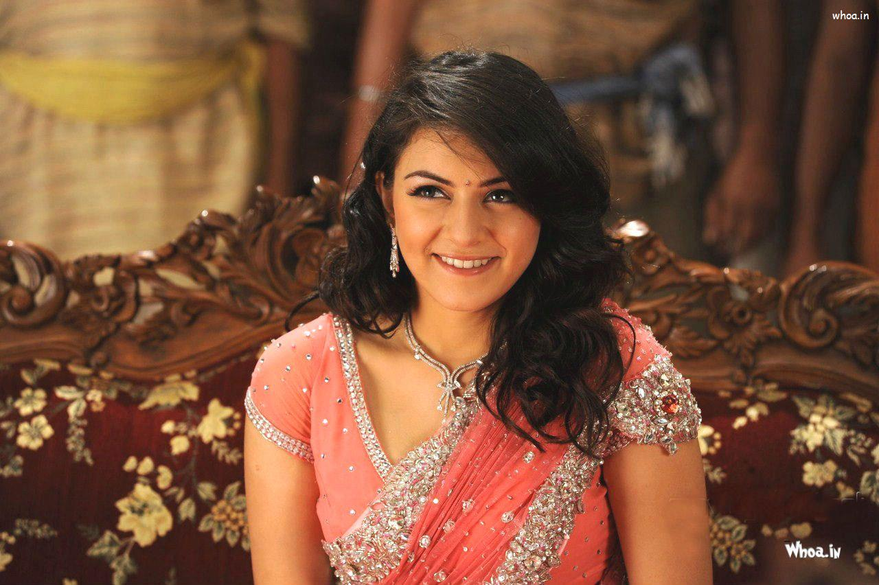 hansika motwani pink saree with naughty face closeup hd wallpaper