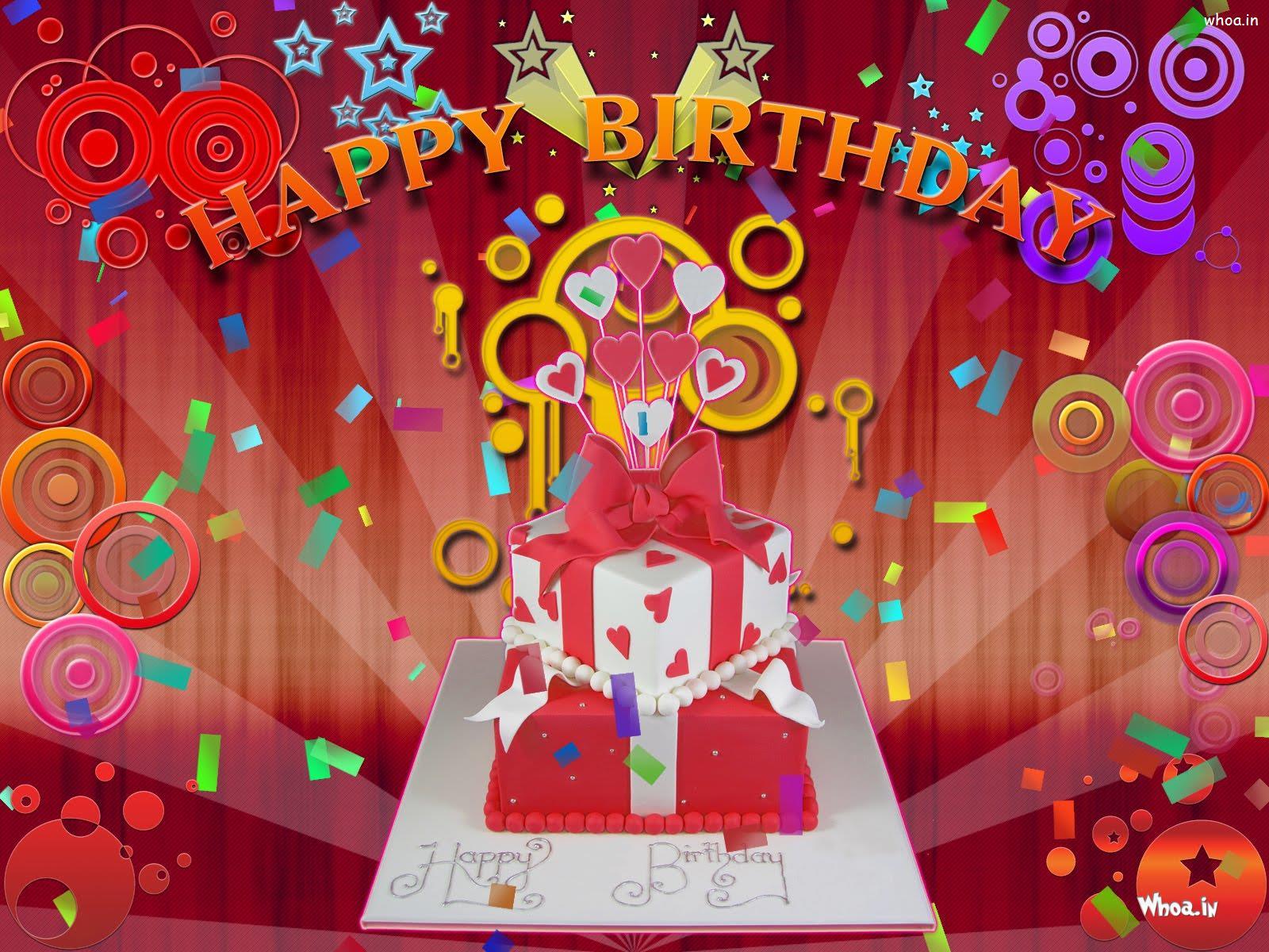 Happy Birthday Gift Red Background Wallpaper