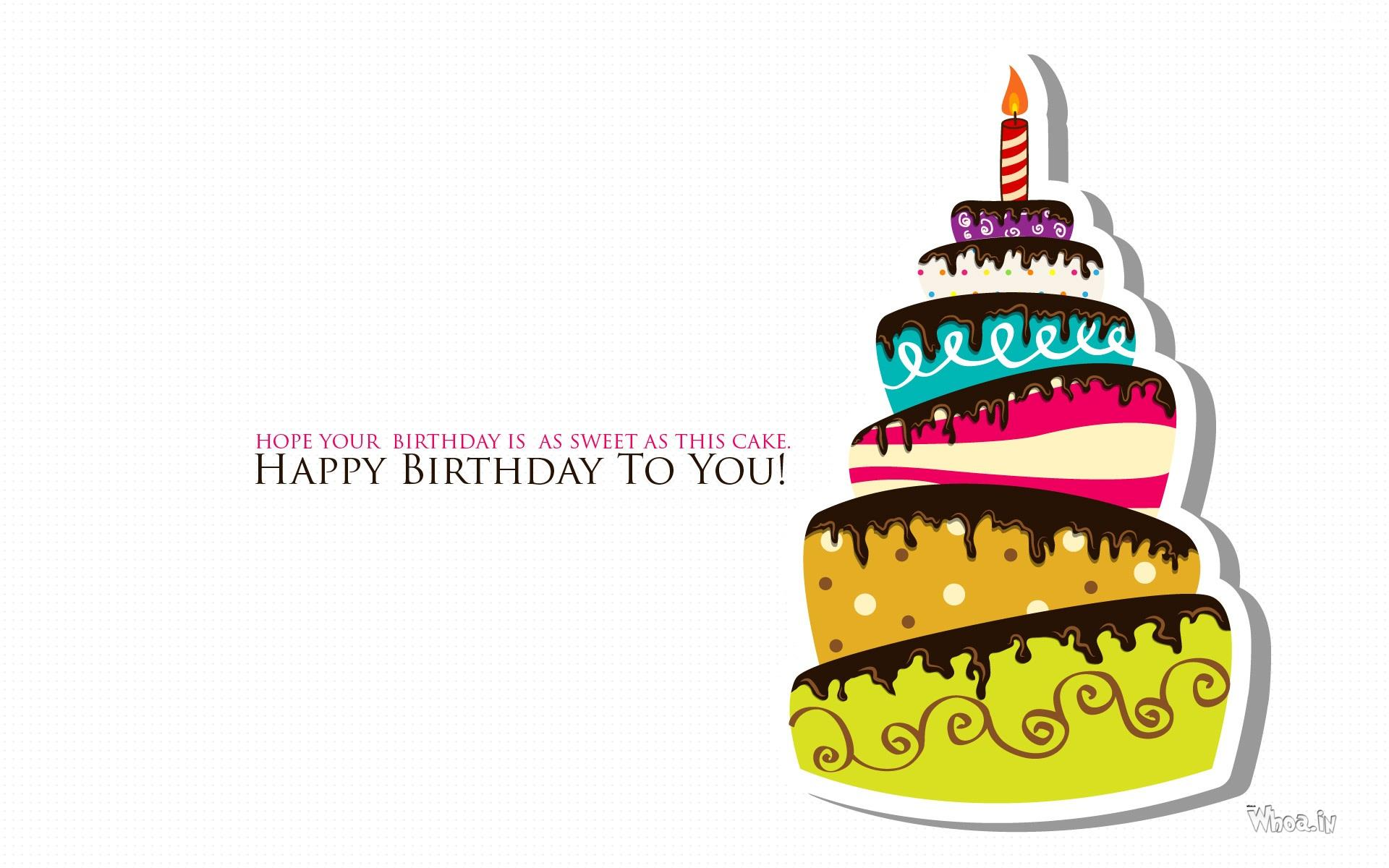 Hd wallpaper birthday -  Happy Birthday Multi Color Cake With Quote Hd Wallpaper
