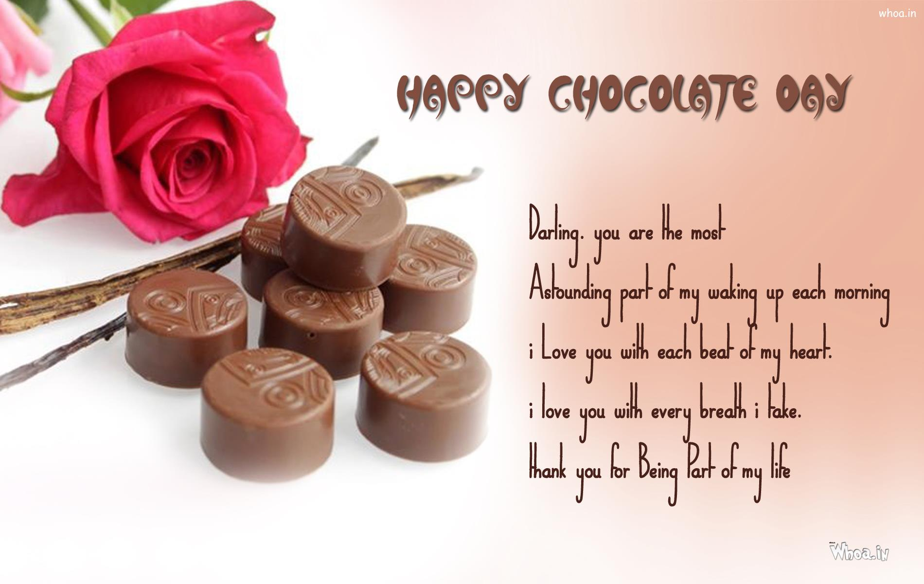 Happy Chocolate Day Greetings With Round Shape Chocolates