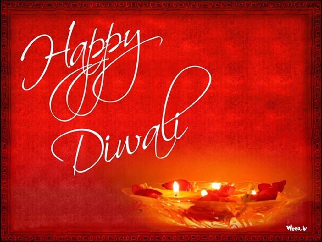 Happy Diwali Greetings Card Red Hd Wallpaper