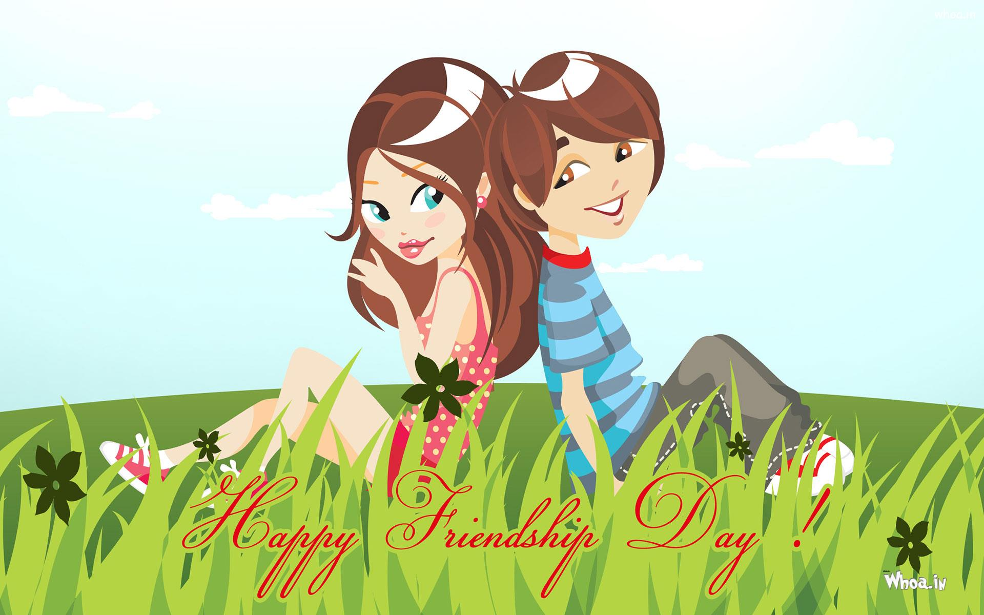 Happy Friendship Day With Cartoon Girl And Boy Hd Wallpaper