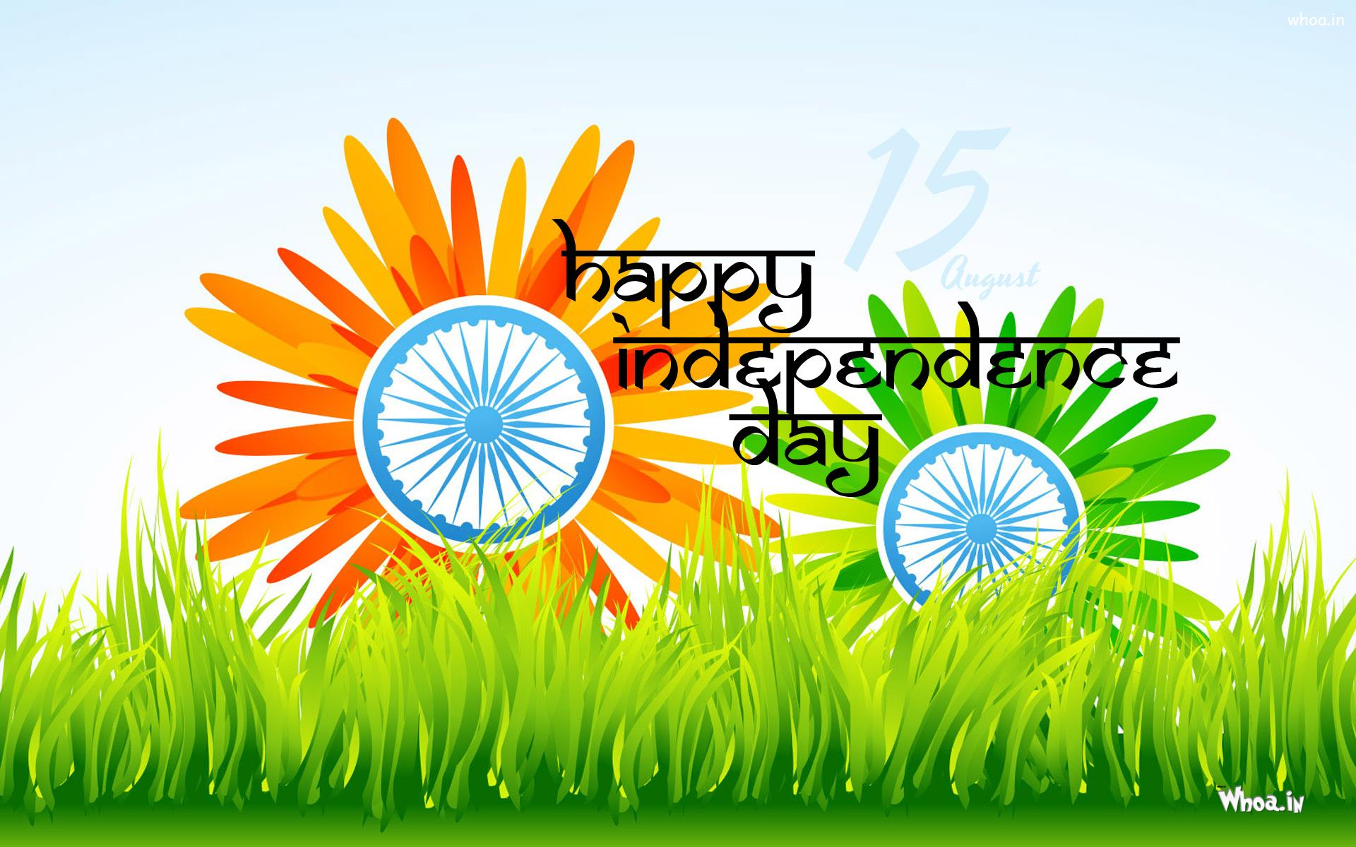 Happy Independence Day Wallpaper With Ashok Chakra