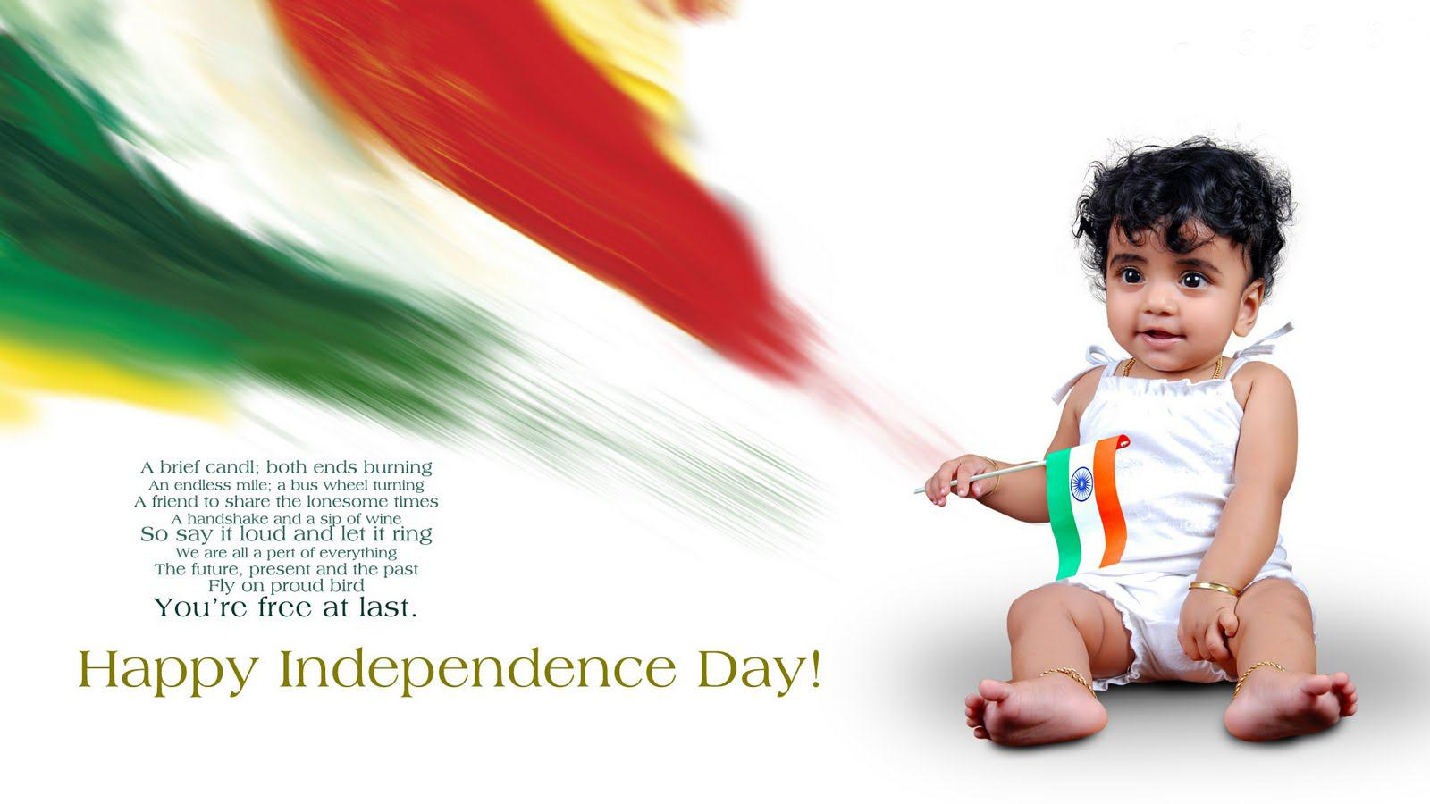 happy independence day wallpaper with small baby