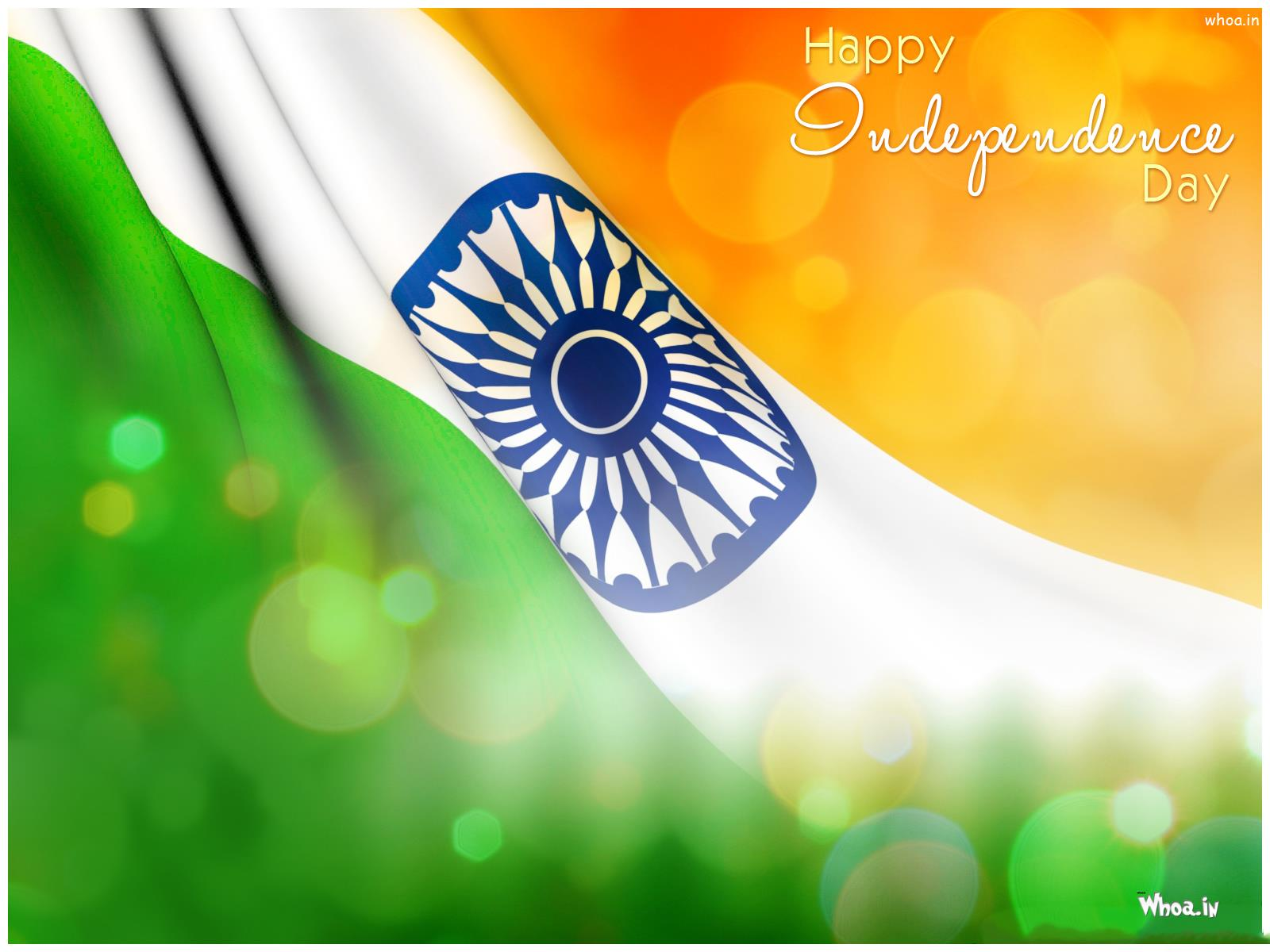 Happy Independence Day With Tri Colour Flag Hd Wallpaper