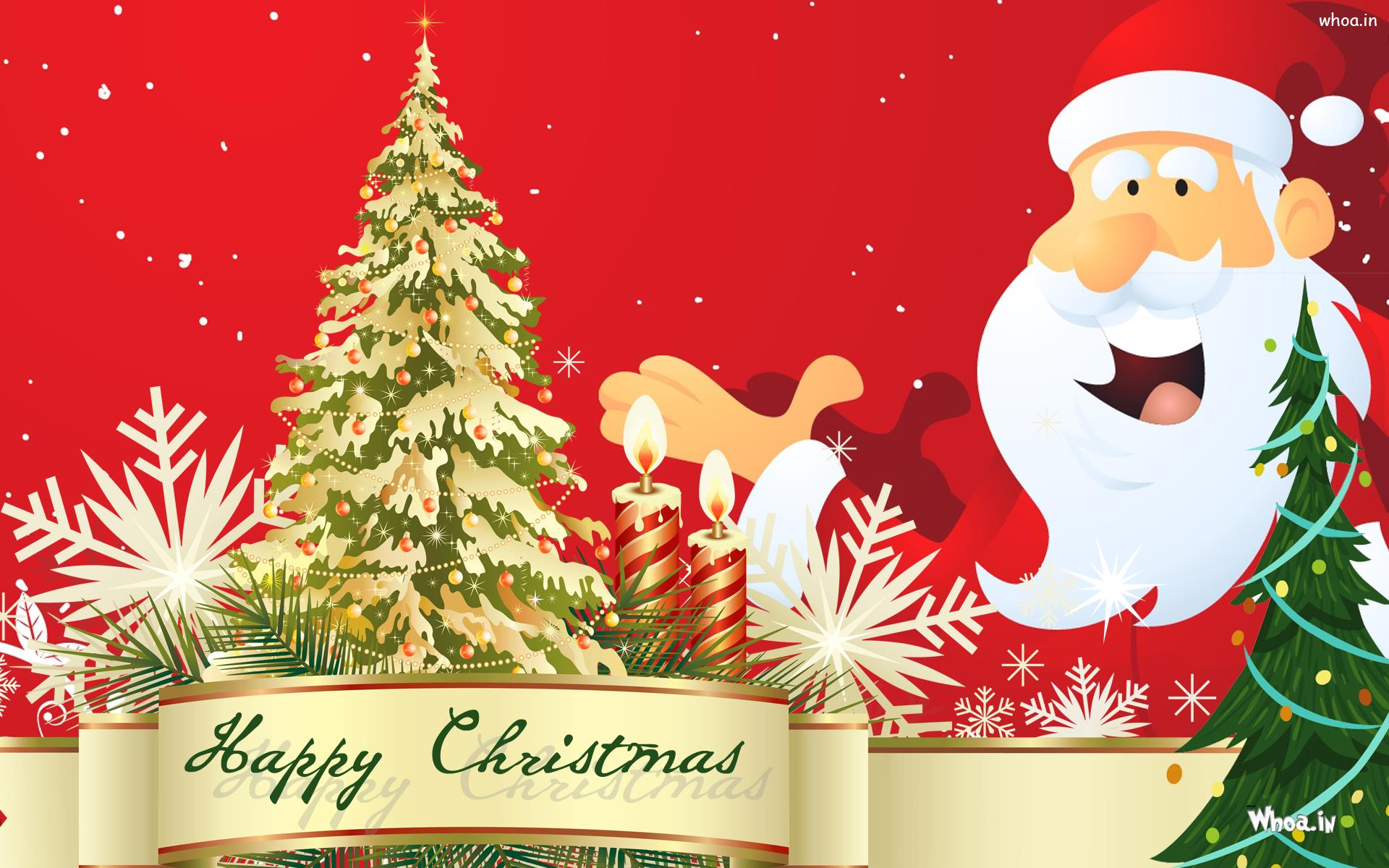 Happy Merry Christmas Greeting Cards With Santa