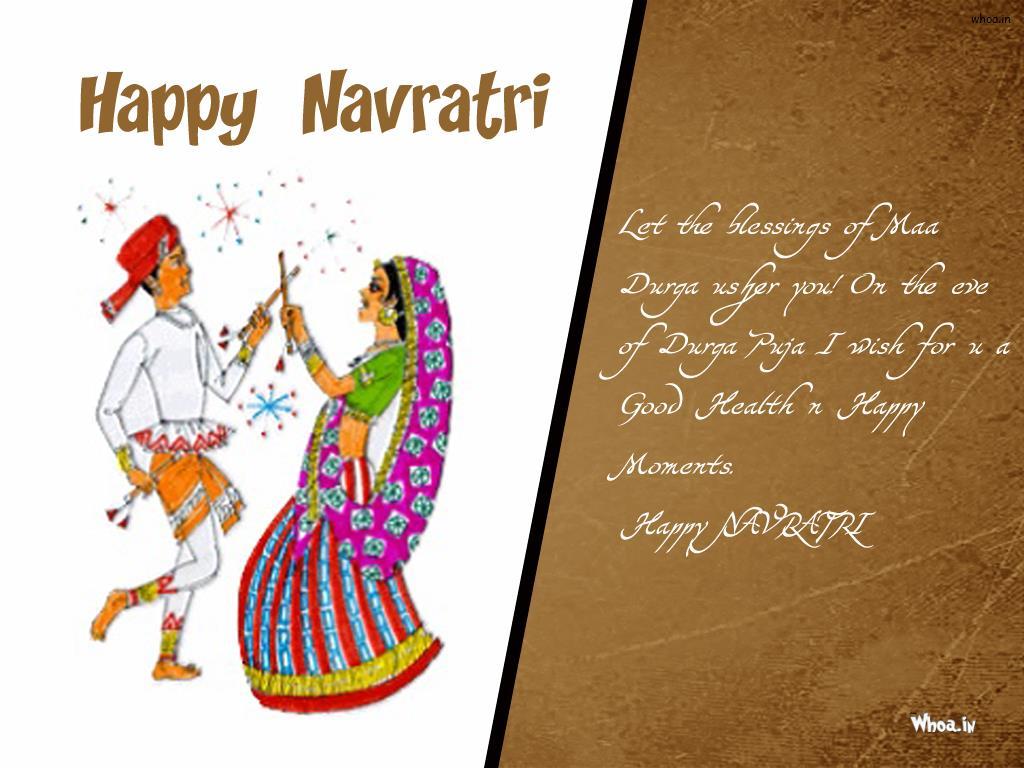 Happy Navratri Cartoon And Quotes Hd Wallpaper For Desktop