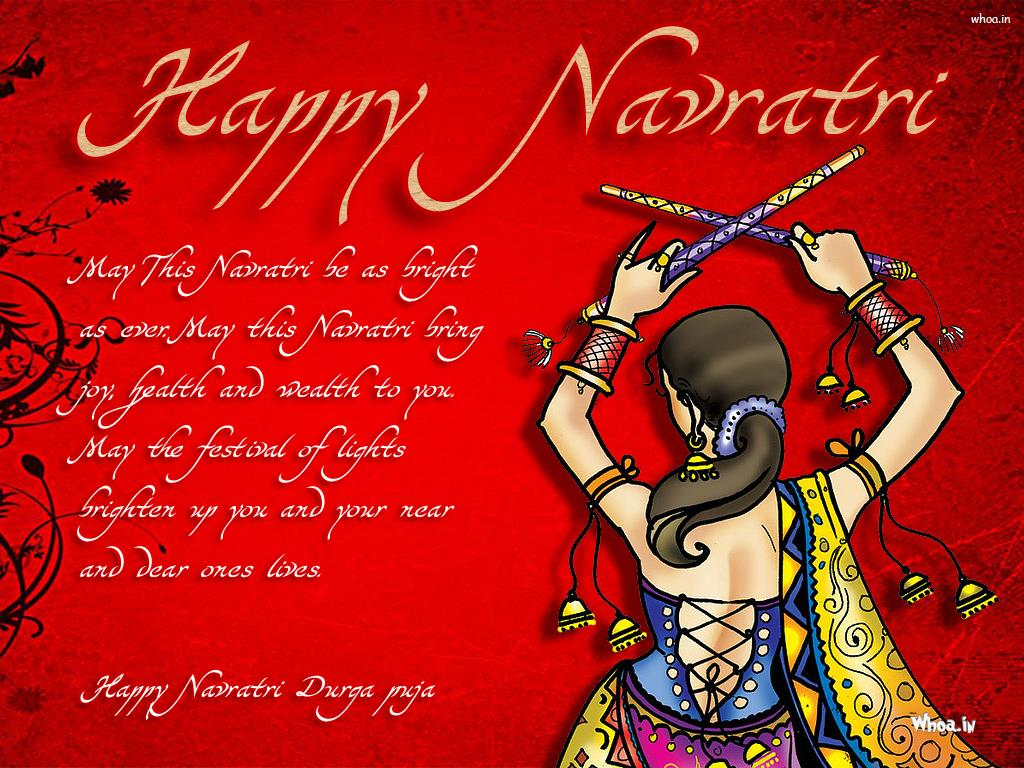 Happy Navratri Red Hd Wallpaper With Quotes