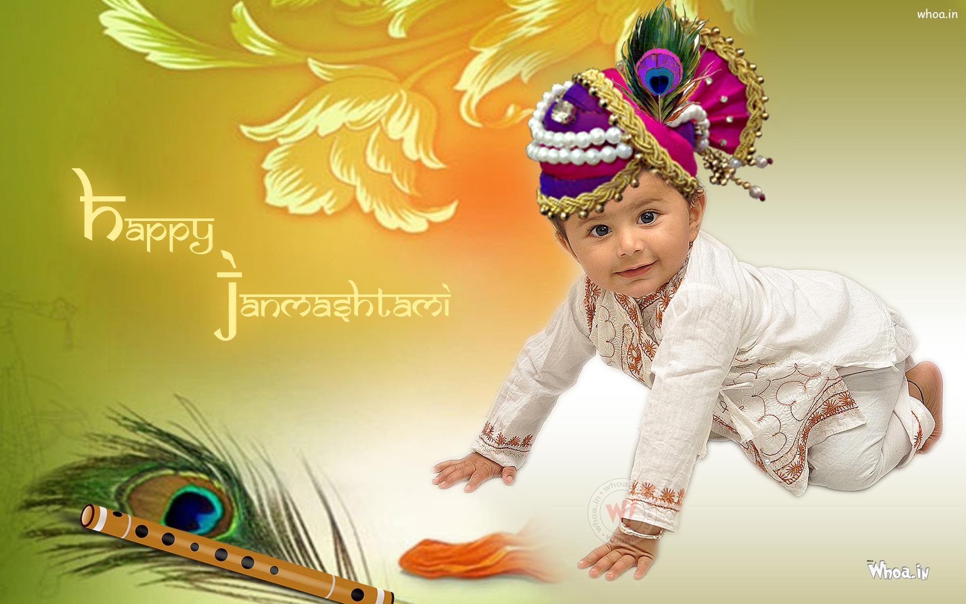 Wallpaper download janmashtami - Jay Gopal Happy Janmashtami Wallpaper With Little Cute Boy