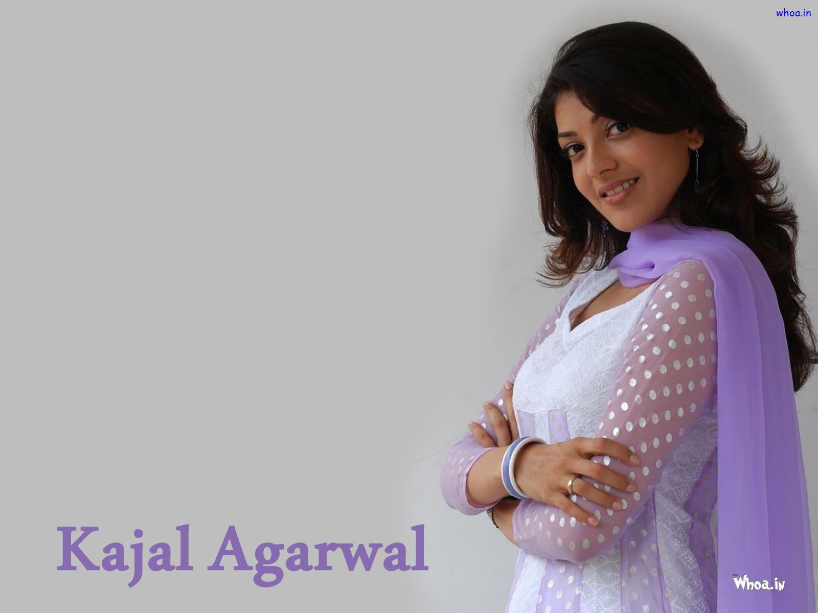 Kajal Agarwal In Simple White And Purple Dress