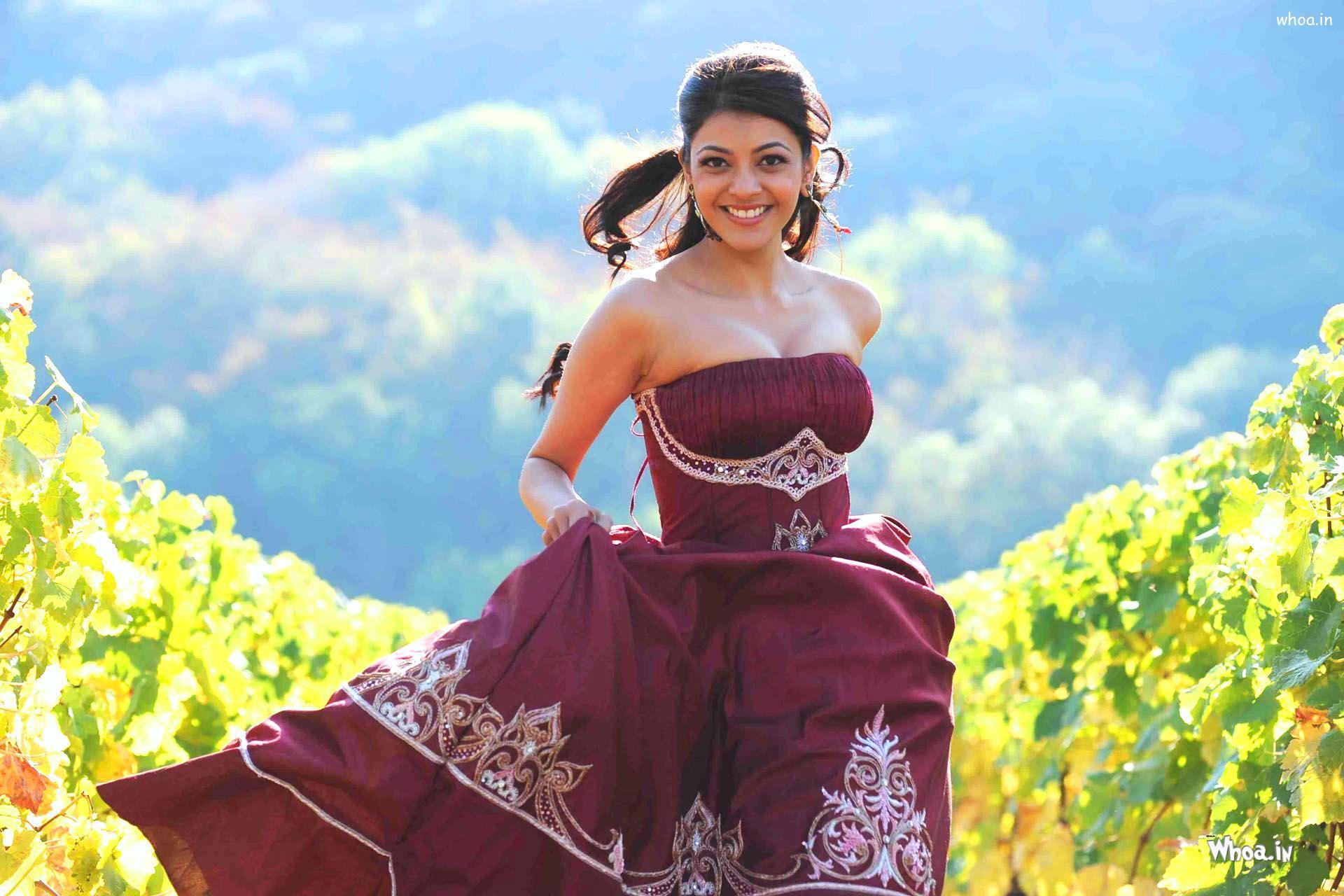 kajal agarwal red dress in darling movies hd wallpaper