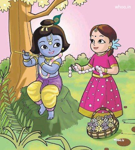 krishna radha love wallpaper like small cartoon