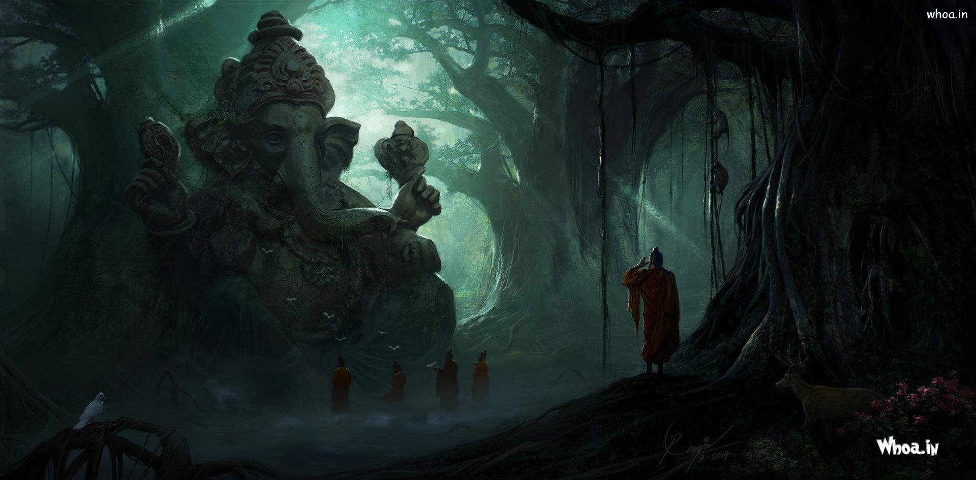 Hd Image Of Lord Ganesha Under The Big Tree