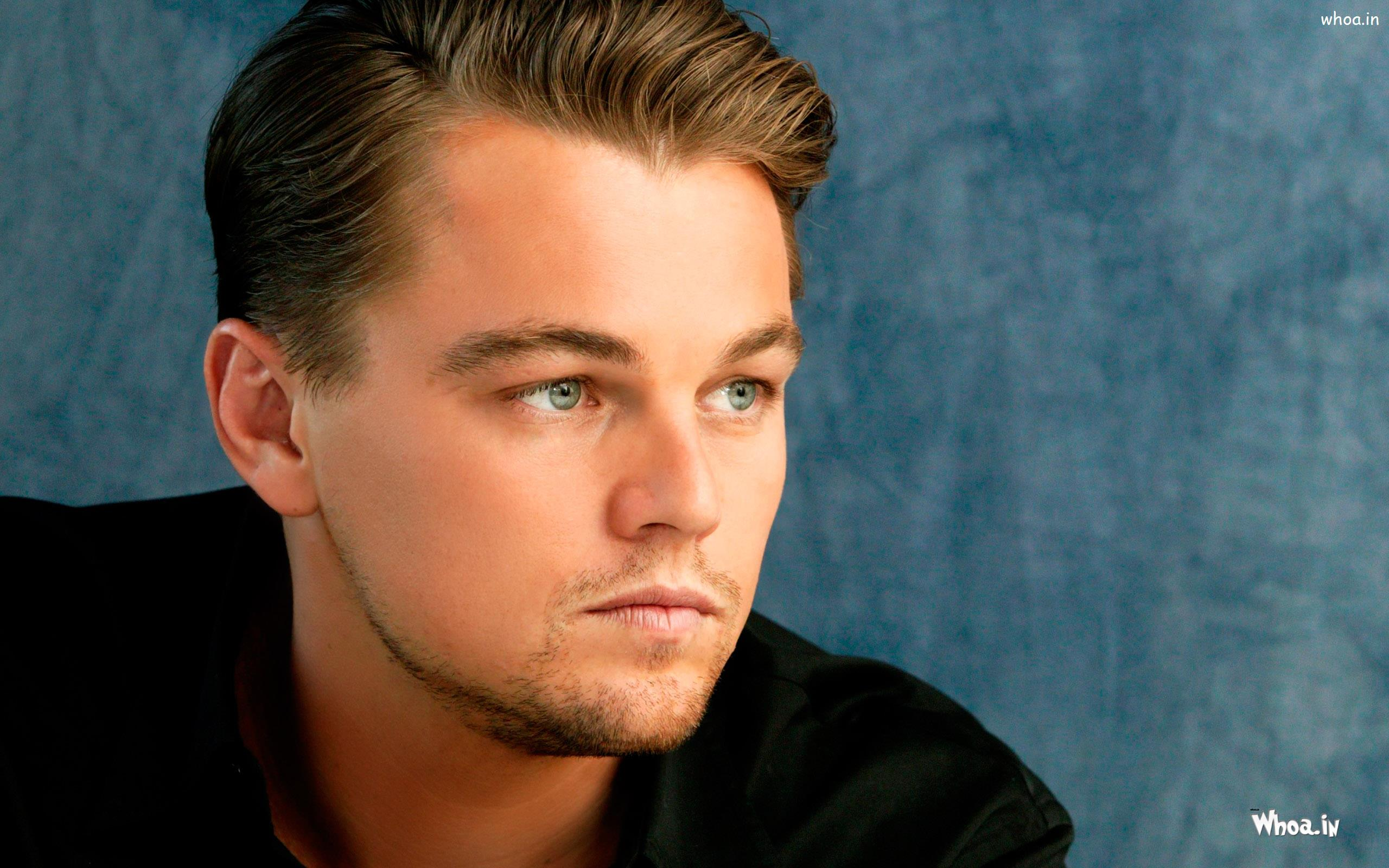 leonardo dicaprio in black suit and stylish hair style wallpaper
