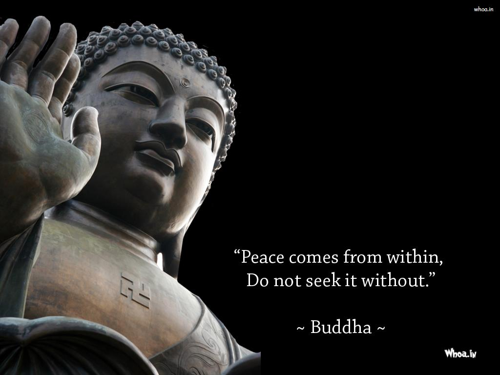 Statue Quotes Lord Buddha Statue And Quote With Dark Background Wallpaper