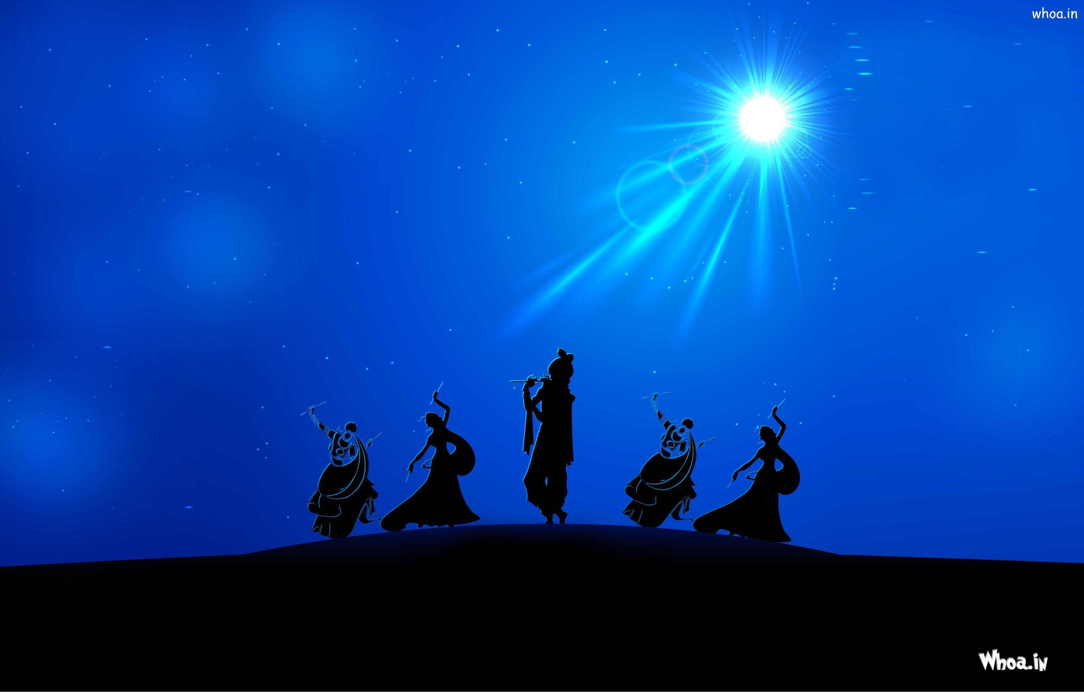 lord krishna rass leela in night with blue background hd wallpaper