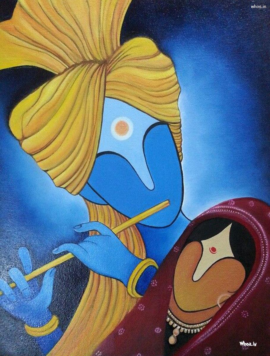 lord radhe krishna with blue background hd painting wallpaper