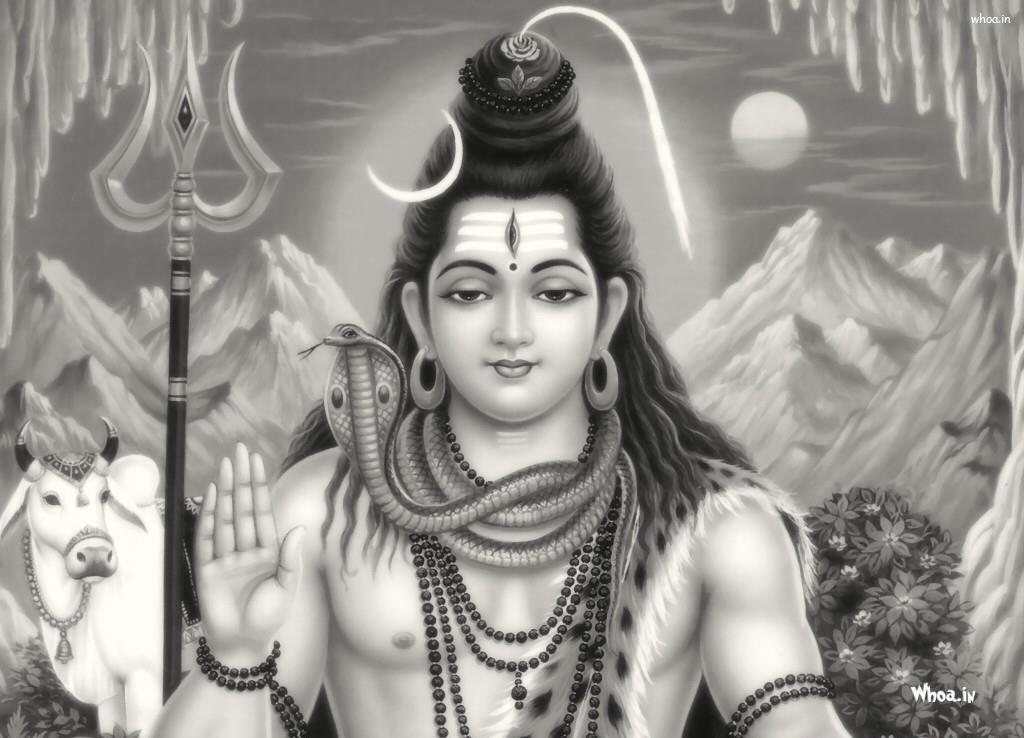 Lord Shiv Shankar Black And White Hd Wallpaper