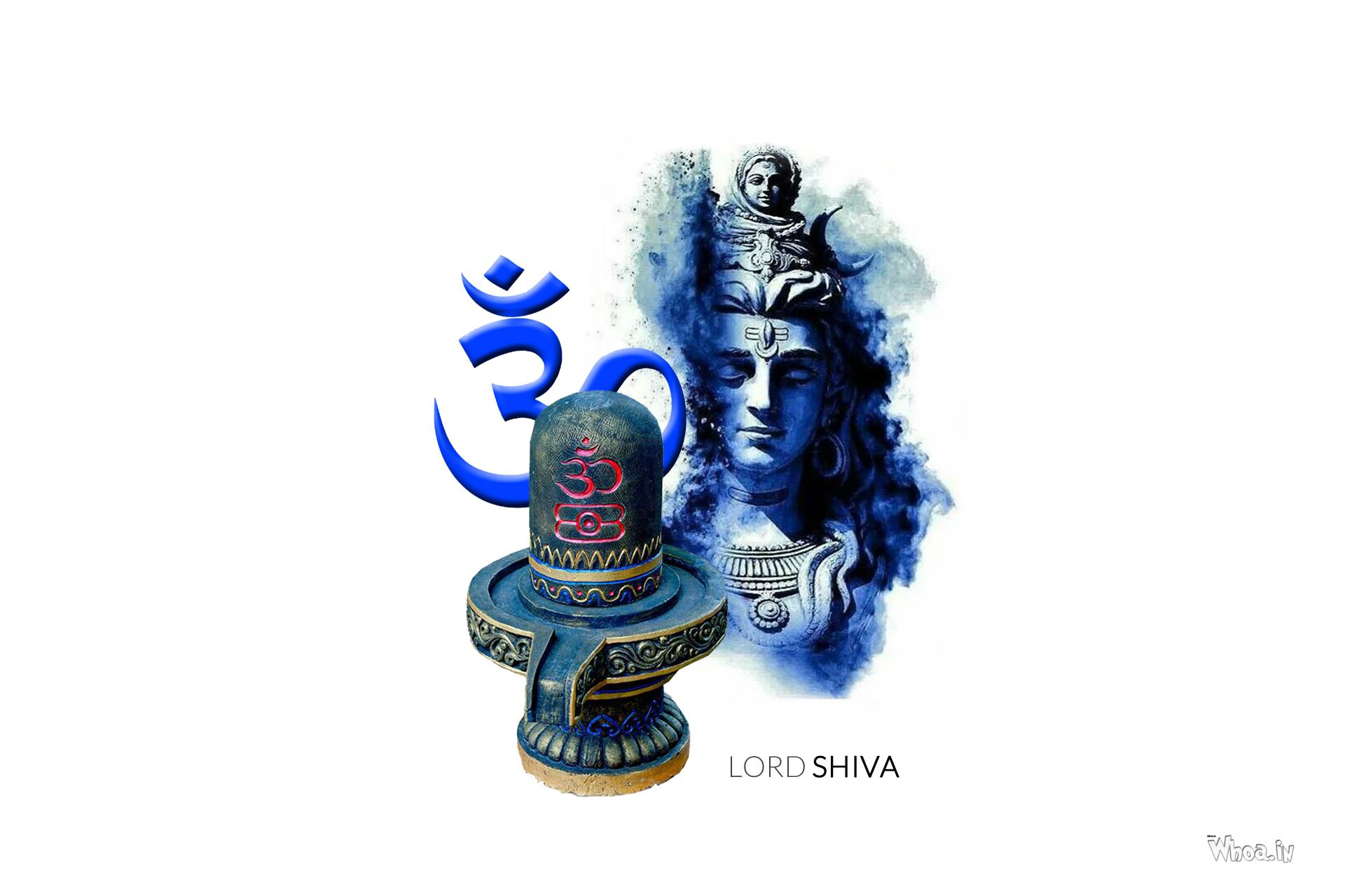 Lord Shiva Blue Face And Om With Shivling Hd Wallpaper