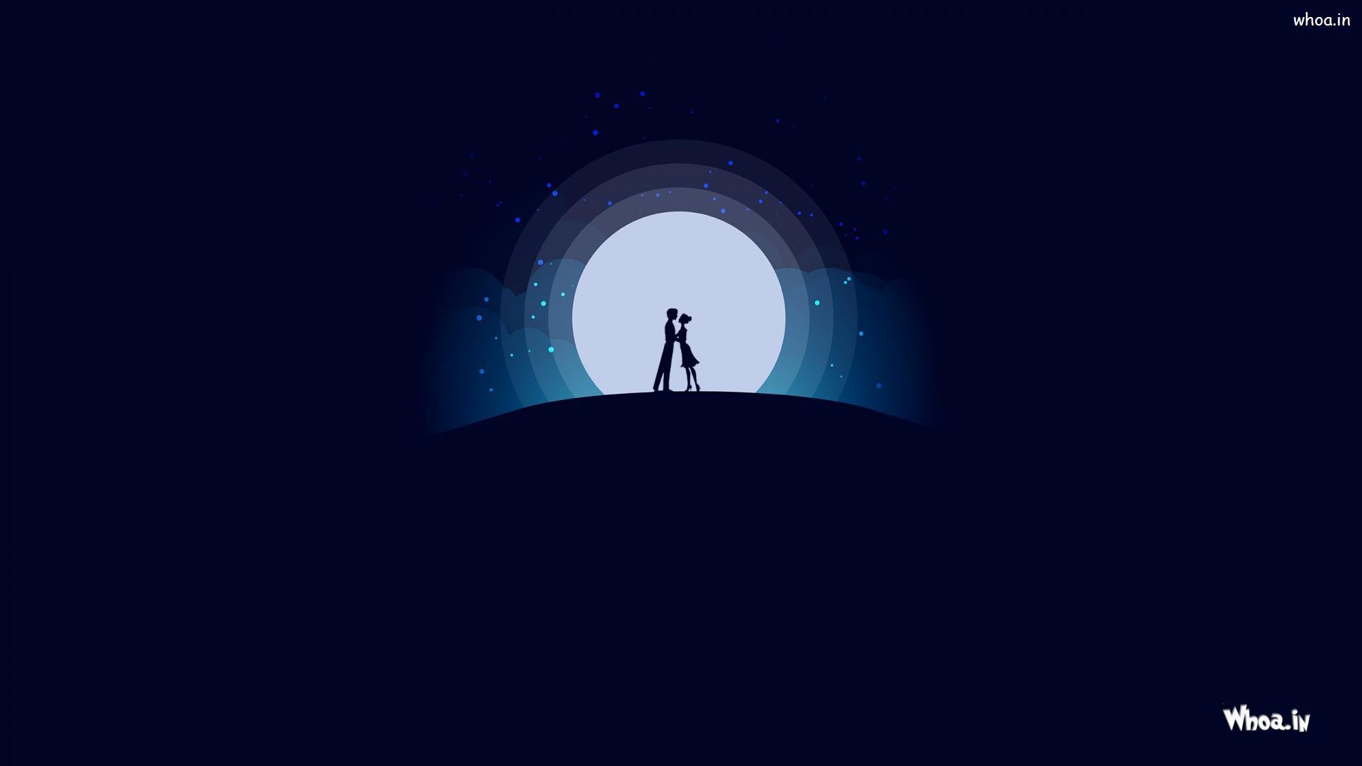 Love Cute Couple Wallpaper 4k Image Blue Background