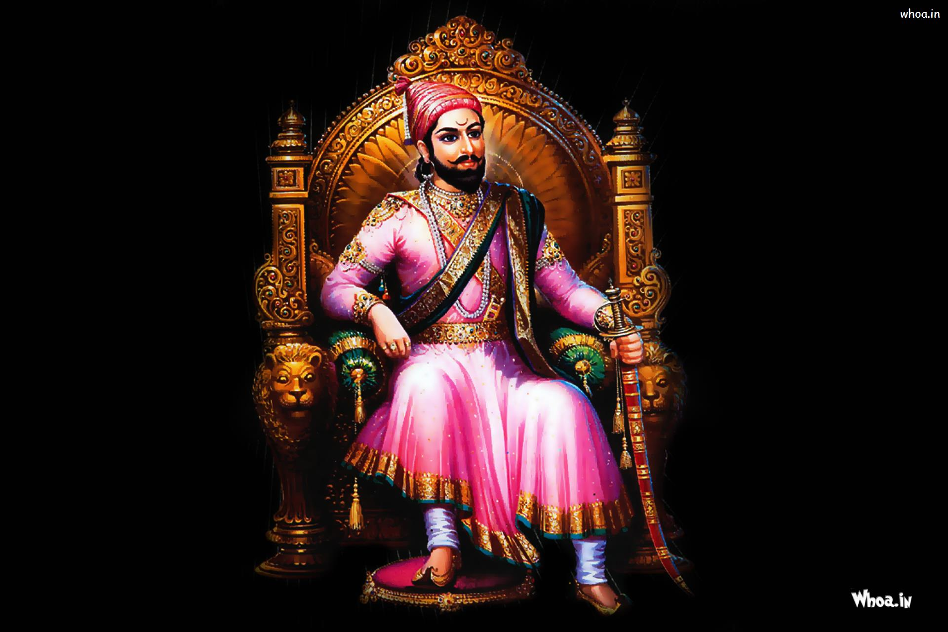 Hd wallpaper shivaji maharaj -  Maharaja Shivaji Sitting Wirh Dark Background Painting Hd Wallpaper