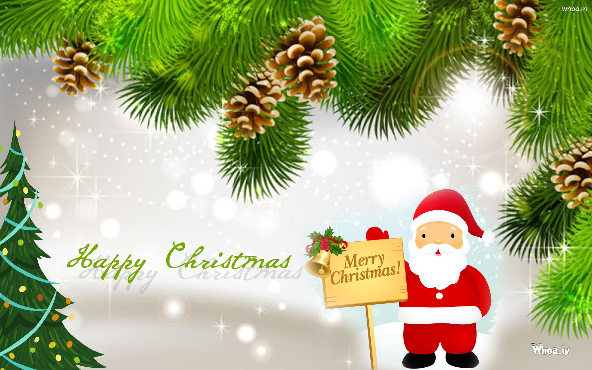 Merry Christmas Greeting Cards Santa Claus With Christmas Tree