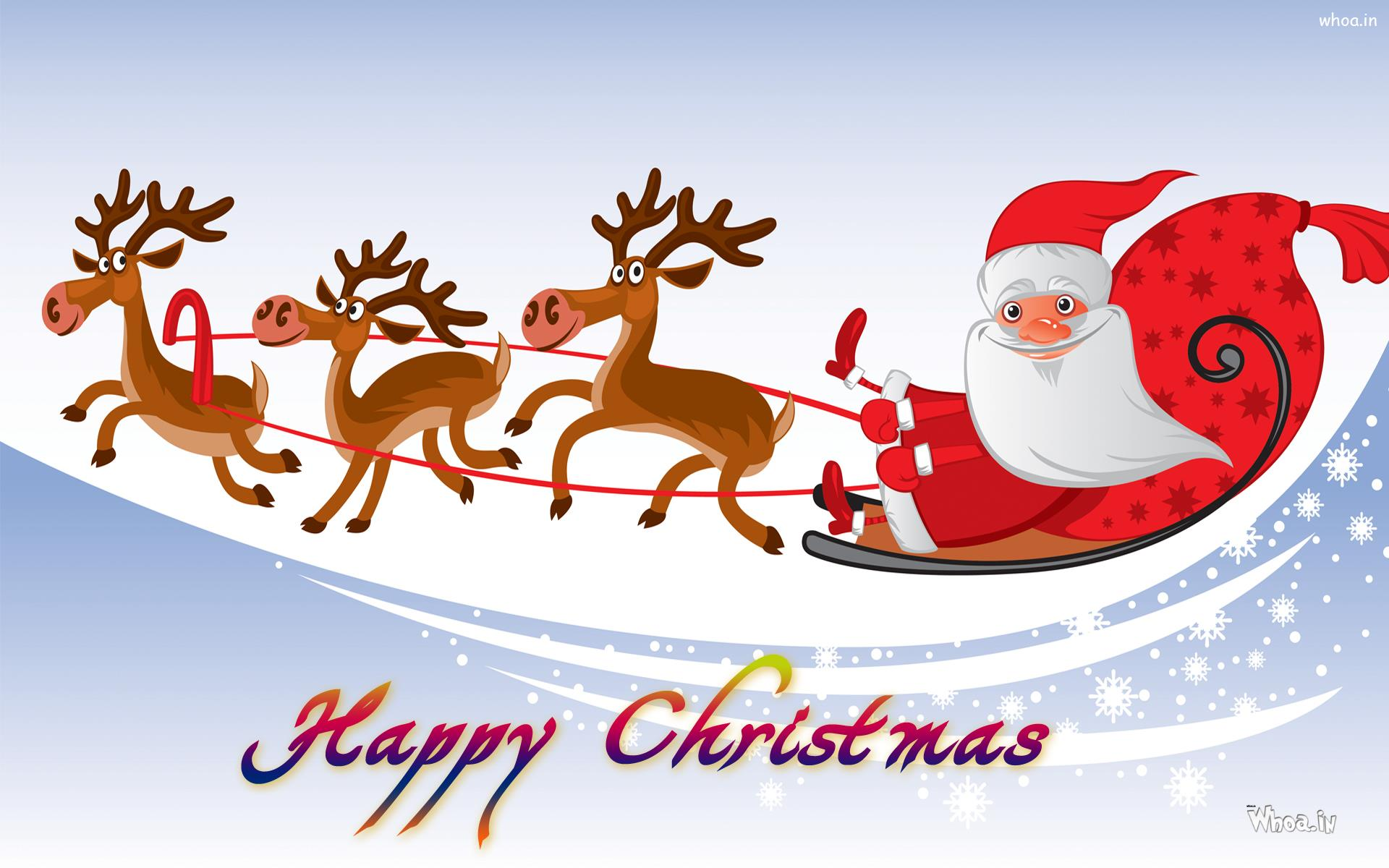 merry christmas greetings cartoon wallpaper