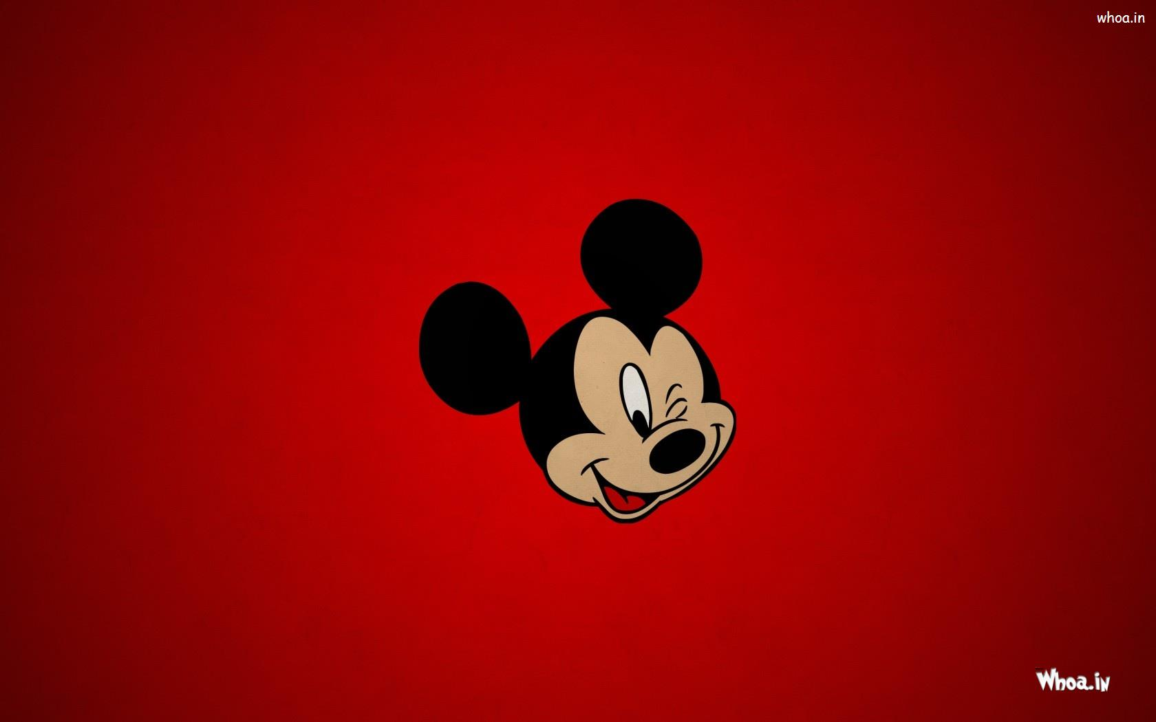 Mickey Mouse Face With Red Background Hd Cartoon Wallpaper