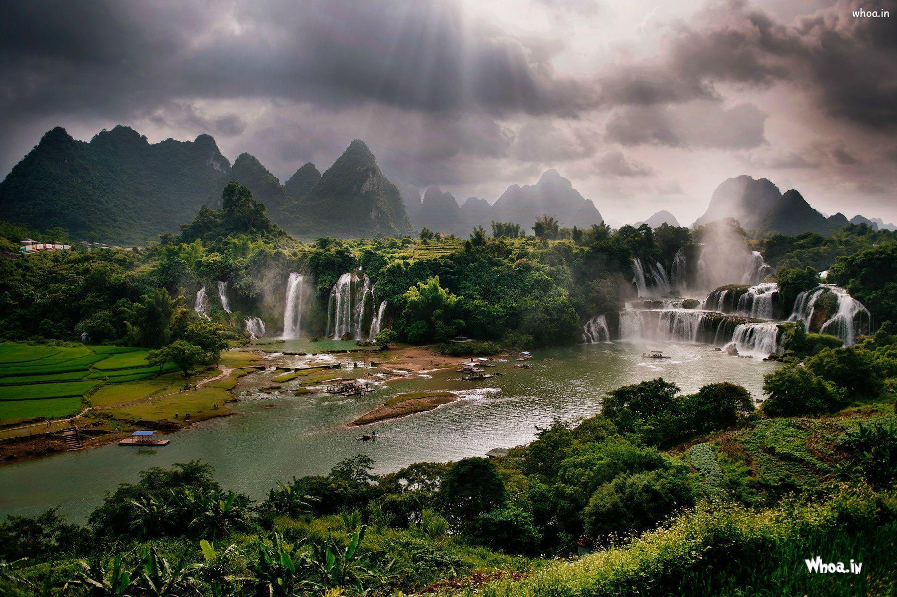 Natural Greenary And Waterfall Hd Wallpaper