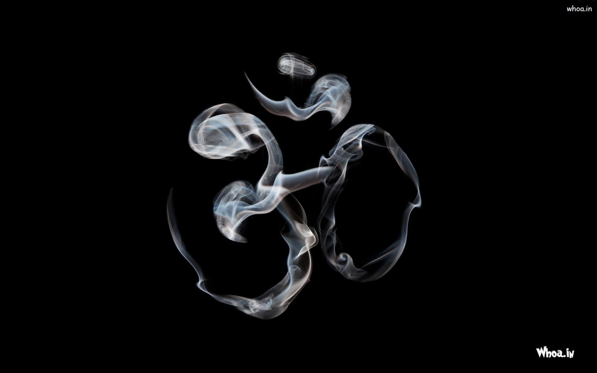 Om Creative By Smoke With Dark Background Hd Wallpaper