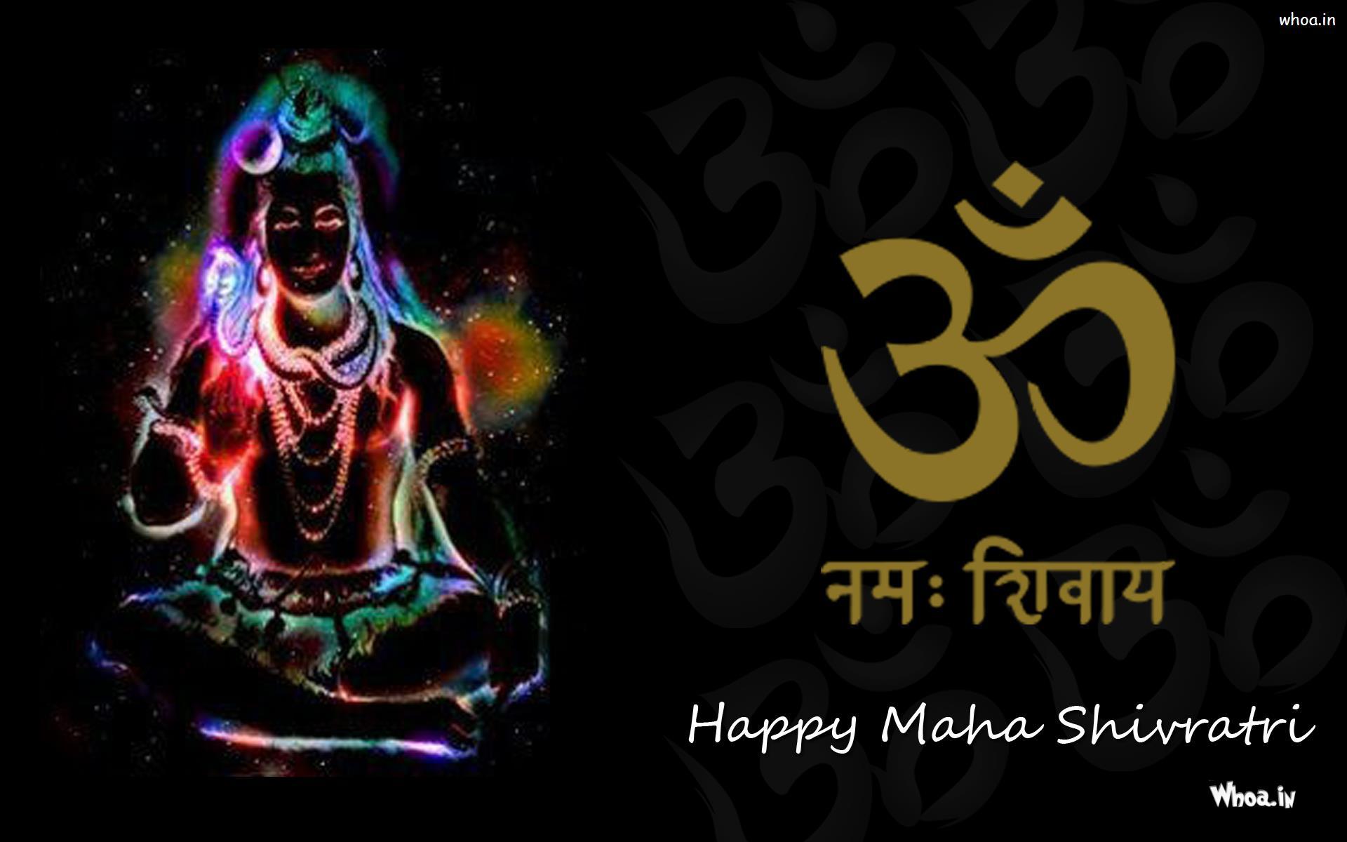 Om Namah Shivaya And Lord Shiva Wallpaper With Black Background
