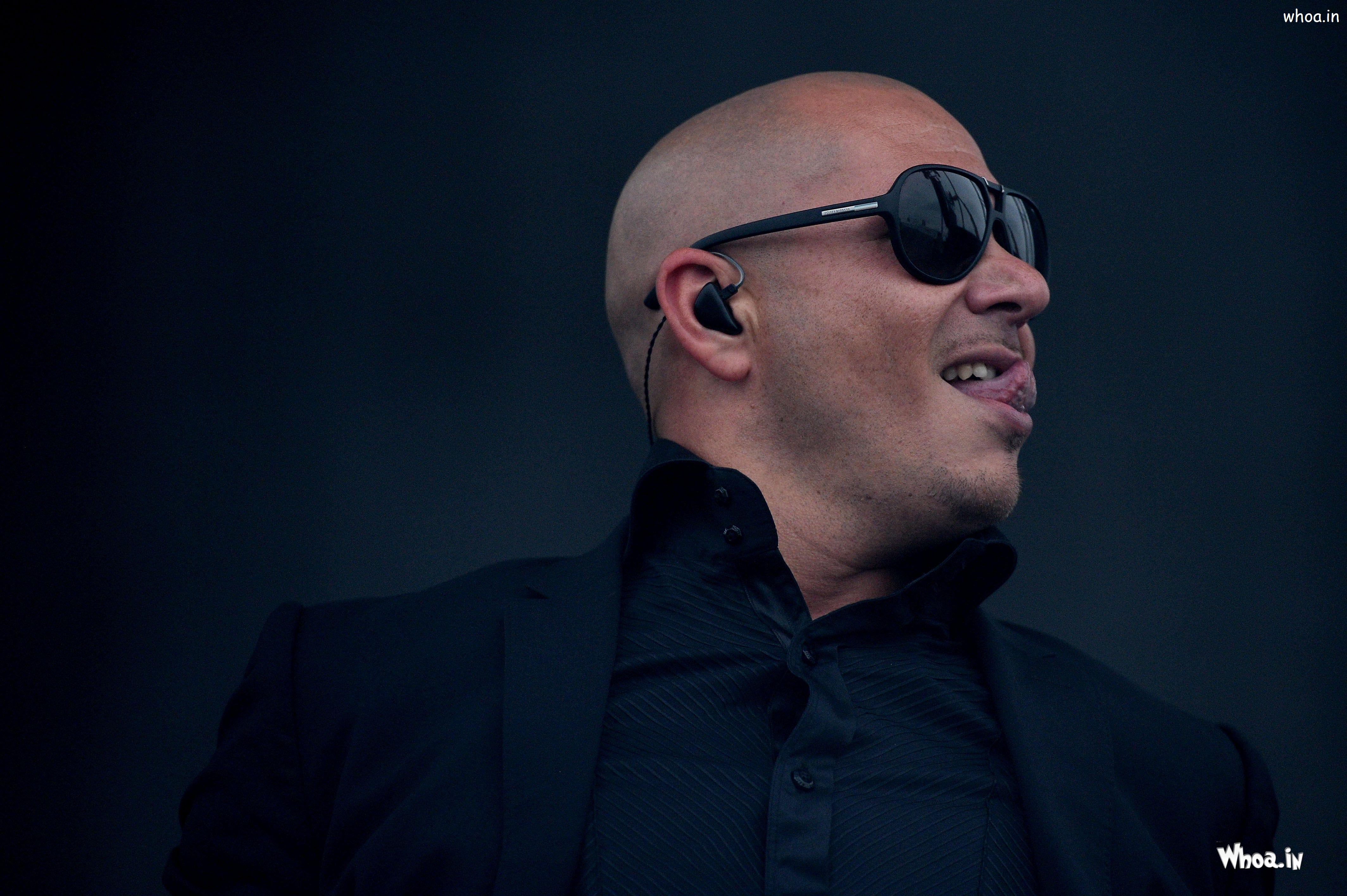 Pitbull Black Suit And Sunglass With Dark Background