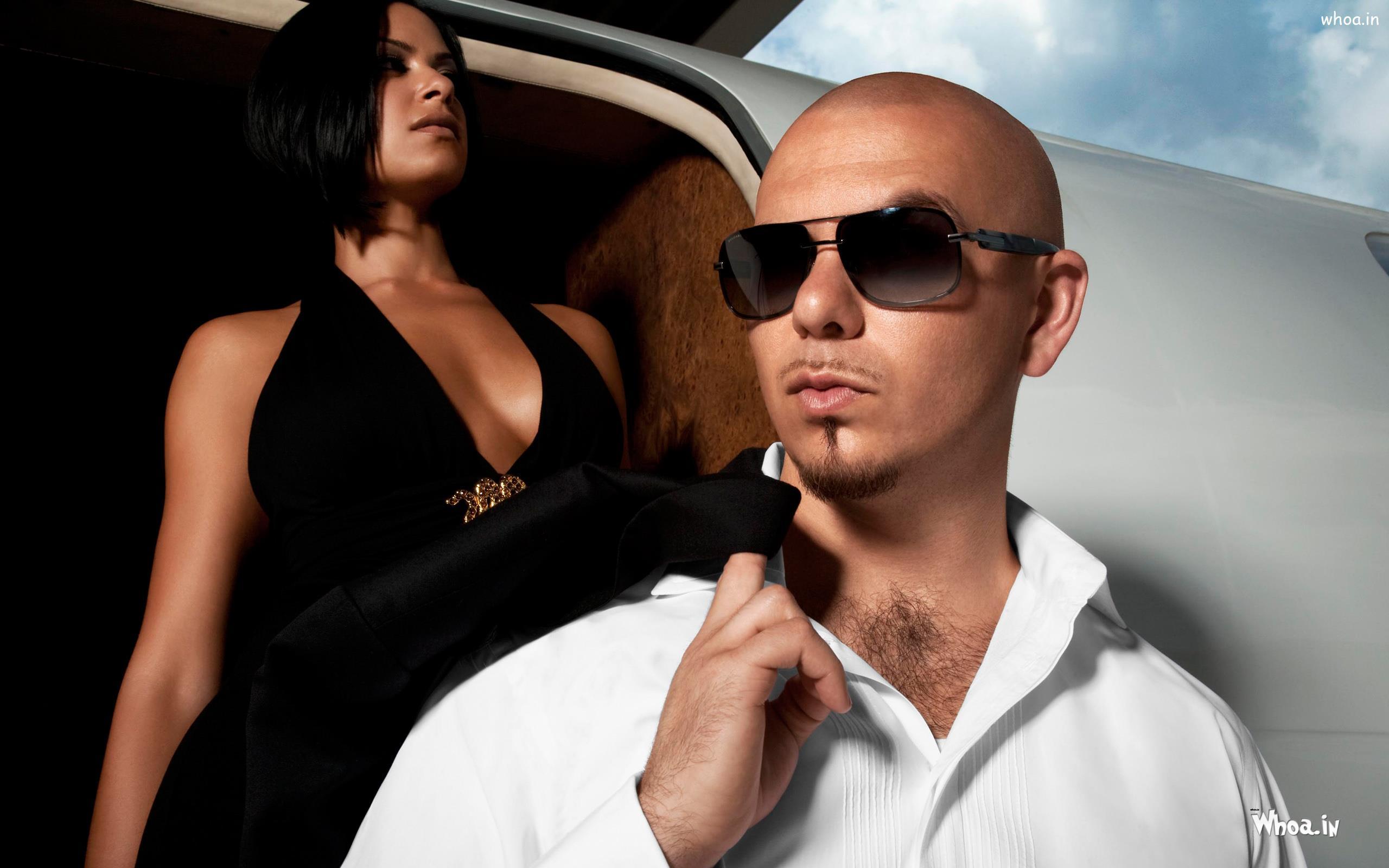 Pitbull White Suit And Black Sunglass HD Wallpaper