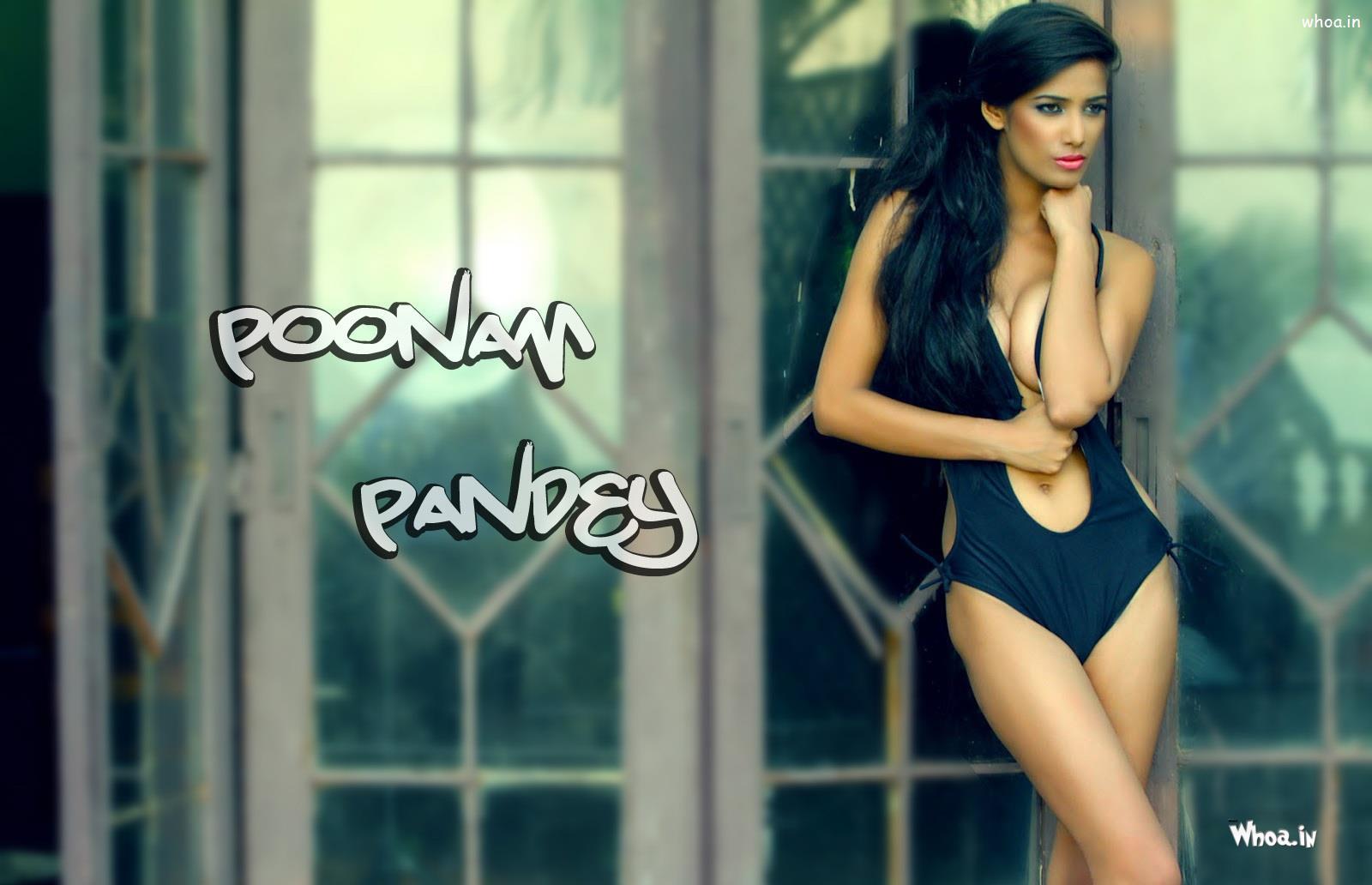 poonam pandey black bikini sizzling hd photoshoot