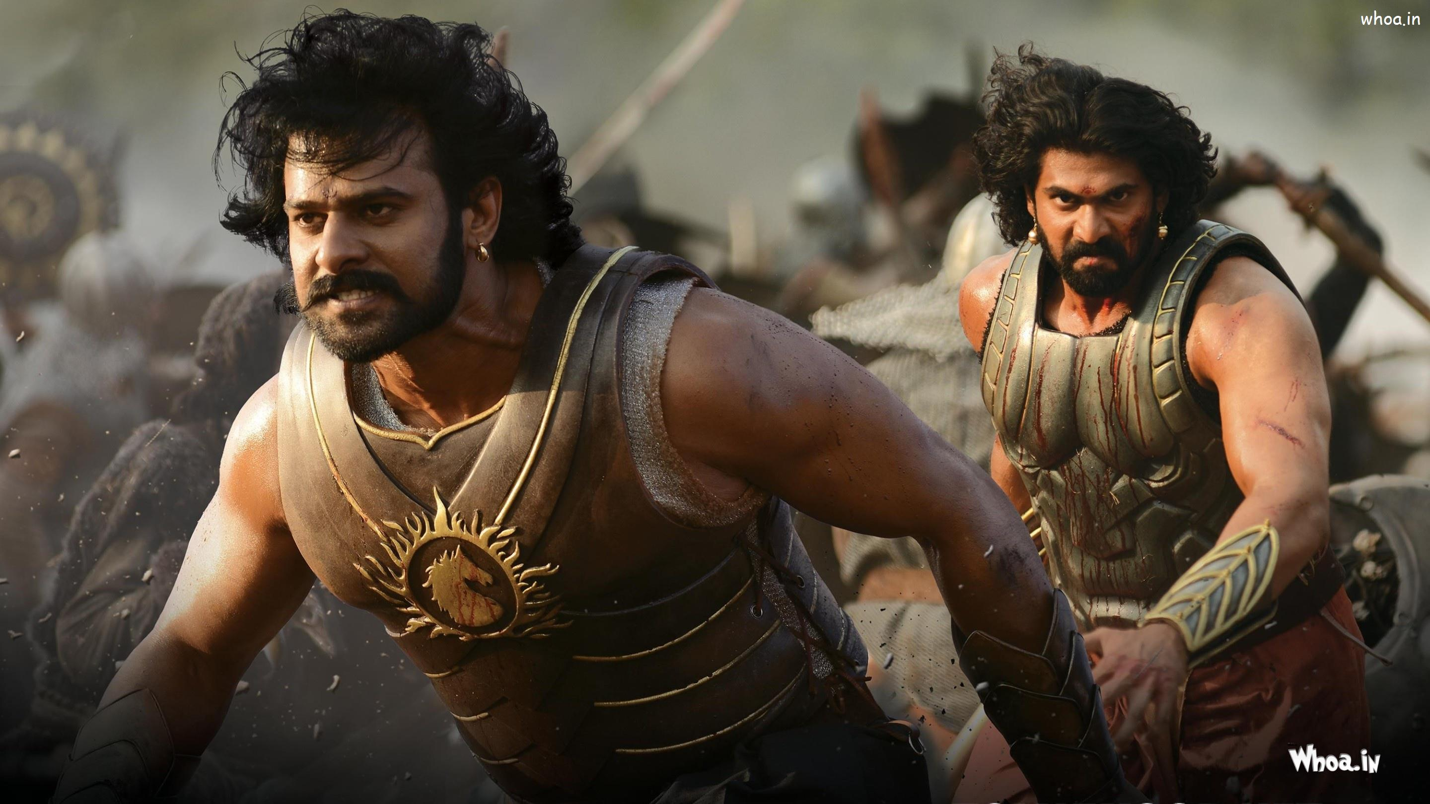 prabhas and rana in baahubali as baahubali and bhallaladeva wallpaper