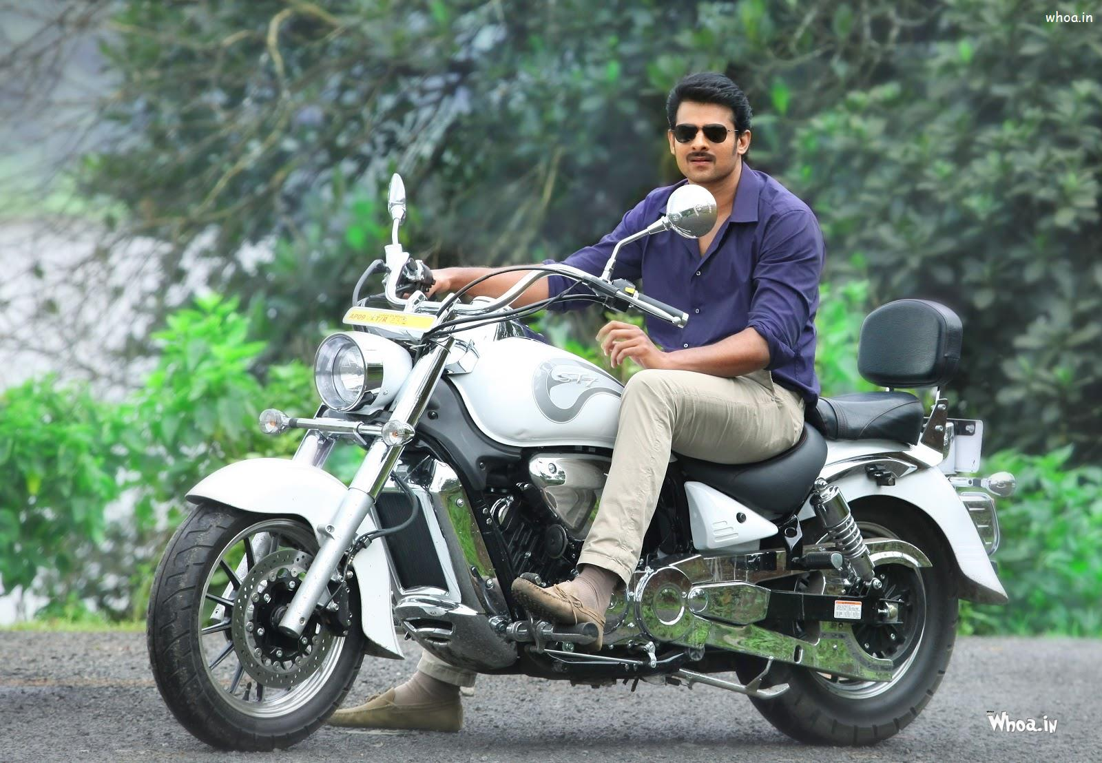 Prabhas Blue Shirt With Bike HD Wallpaper