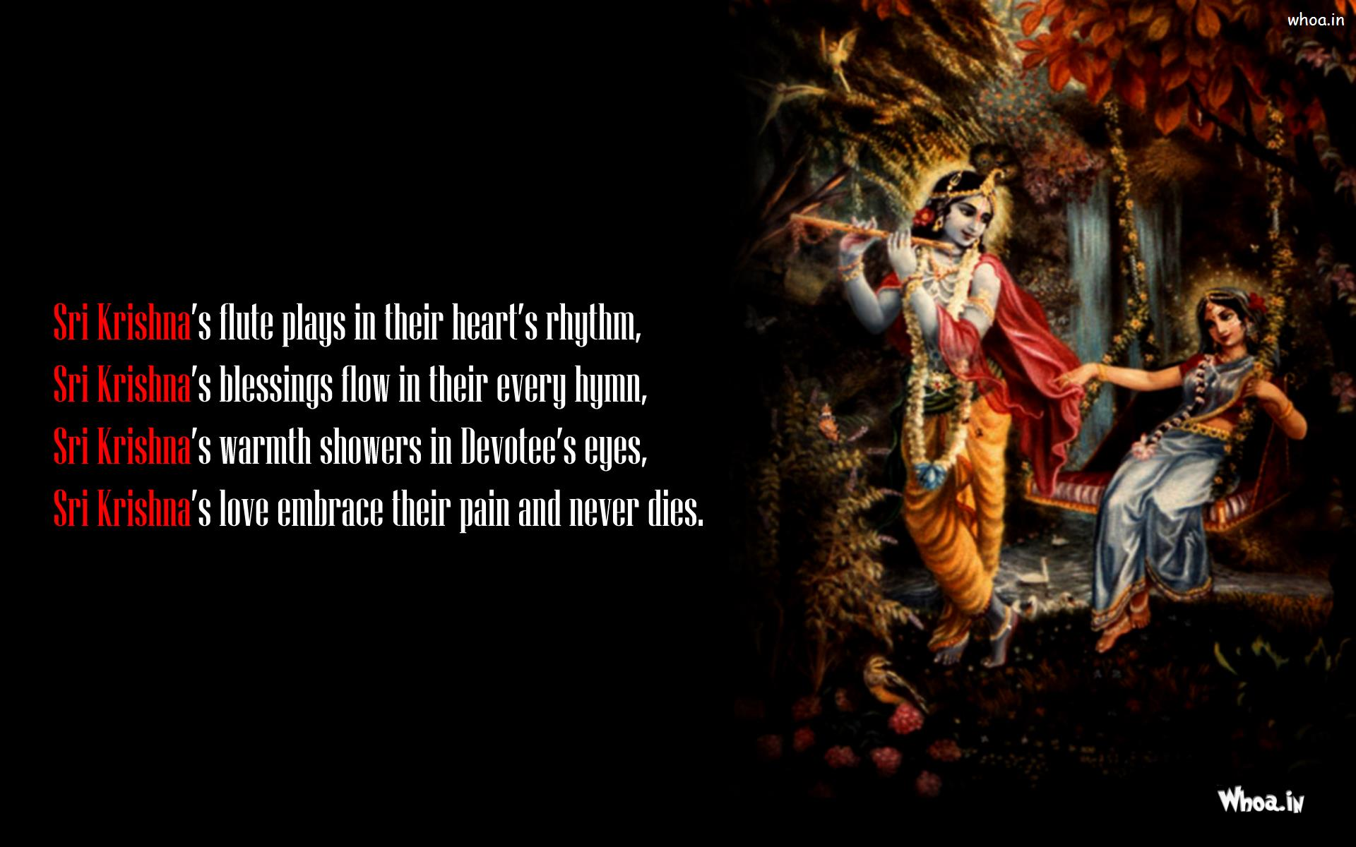 Lord Krishna Quotes Radha Swinging On Swing Besides Krishna Quotes Wallpaper